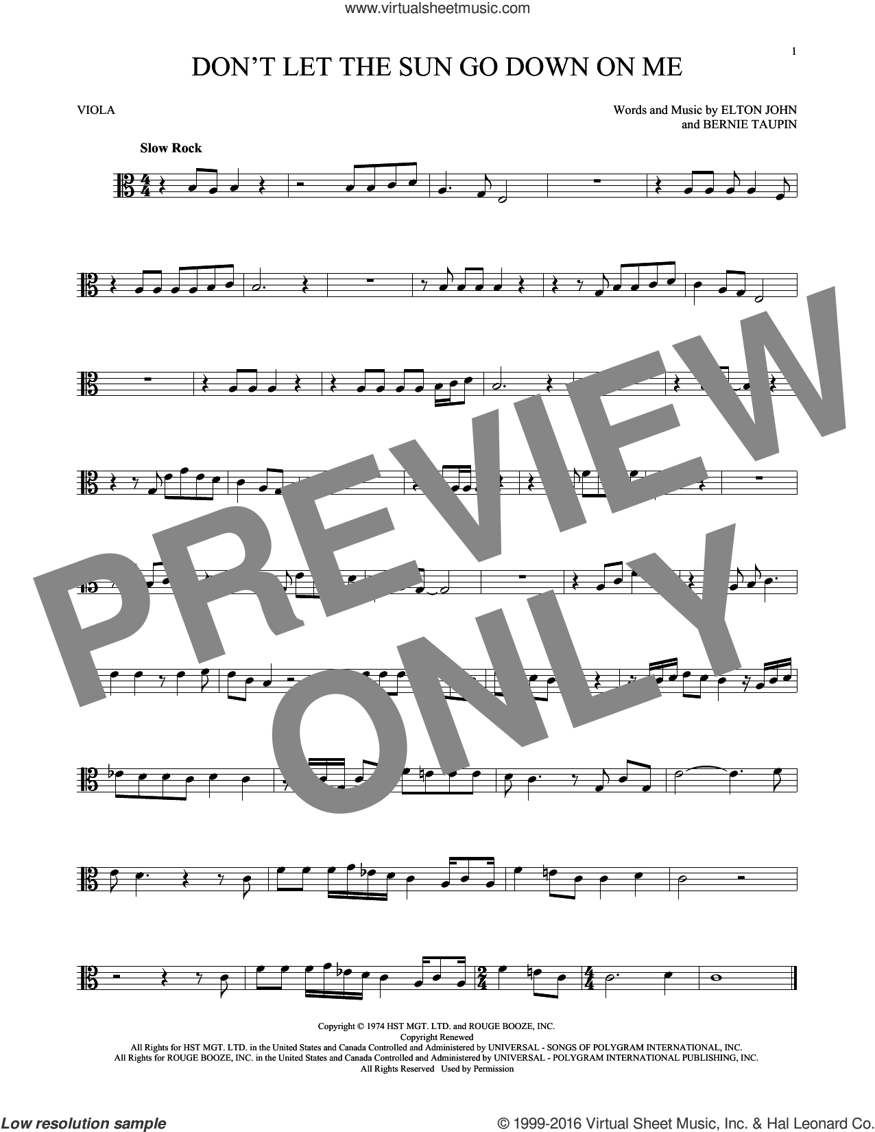 Don't Let The Sun Go Down On Me sheet music for viola solo by Elton John & George Michael, David Archuleta, Bernie Taupin and Elton John, intermediate skill level