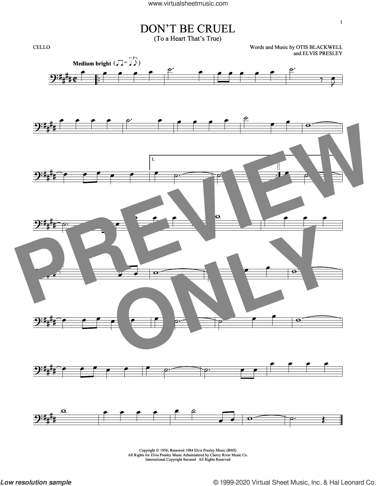 Don't Be Cruel (To A Heart That's True) sheet music for cello solo by Elvis Presley and Otis Blackwell, intermediate skill level