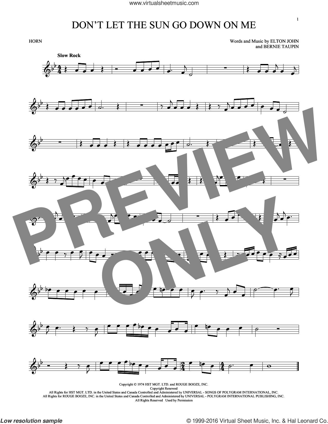 Don't Let The Sun Go Down On Me sheet music for horn solo by Elton John & George Michael, David Archuleta, Bernie Taupin and Elton John, intermediate skill level