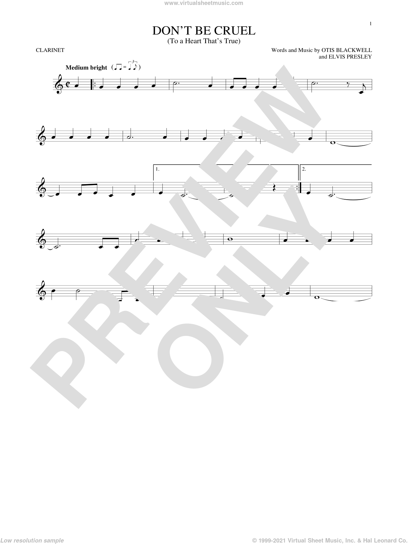 Don't Be Cruel (To A Heart That's True) sheet music for clarinet solo by Elvis Presley and Otis Blackwell, intermediate skill level