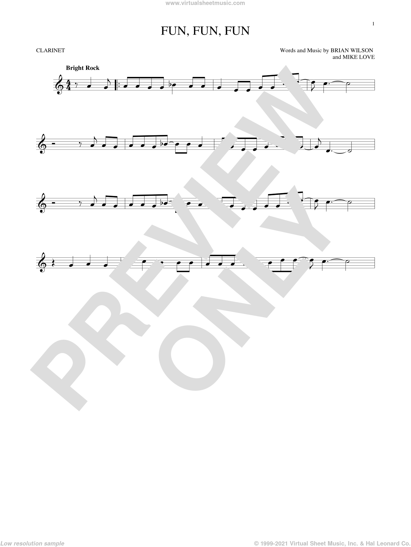 Fun, Fun, Fun sheet music for clarinet solo by The Beach Boys, Brian Wilson and Mike Love, intermediate skill level