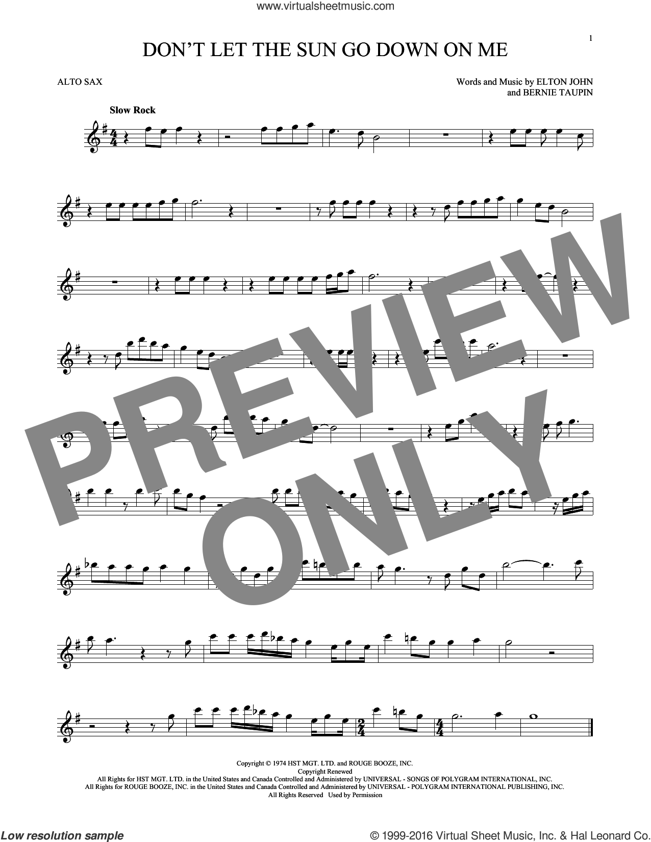 Don't Let The Sun Go Down On Me sheet music for alto saxophone solo by Bernie Taupin and Elton John. Score Image Preview.