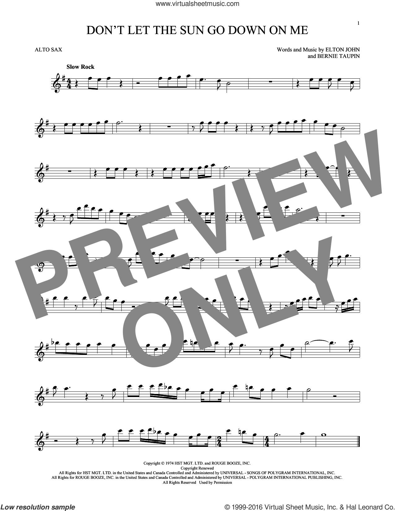 Don't Let The Sun Go Down On Me sheet music for alto saxophone solo by Elton John & George Michael, Bernie Taupin and Elton John, intermediate skill level