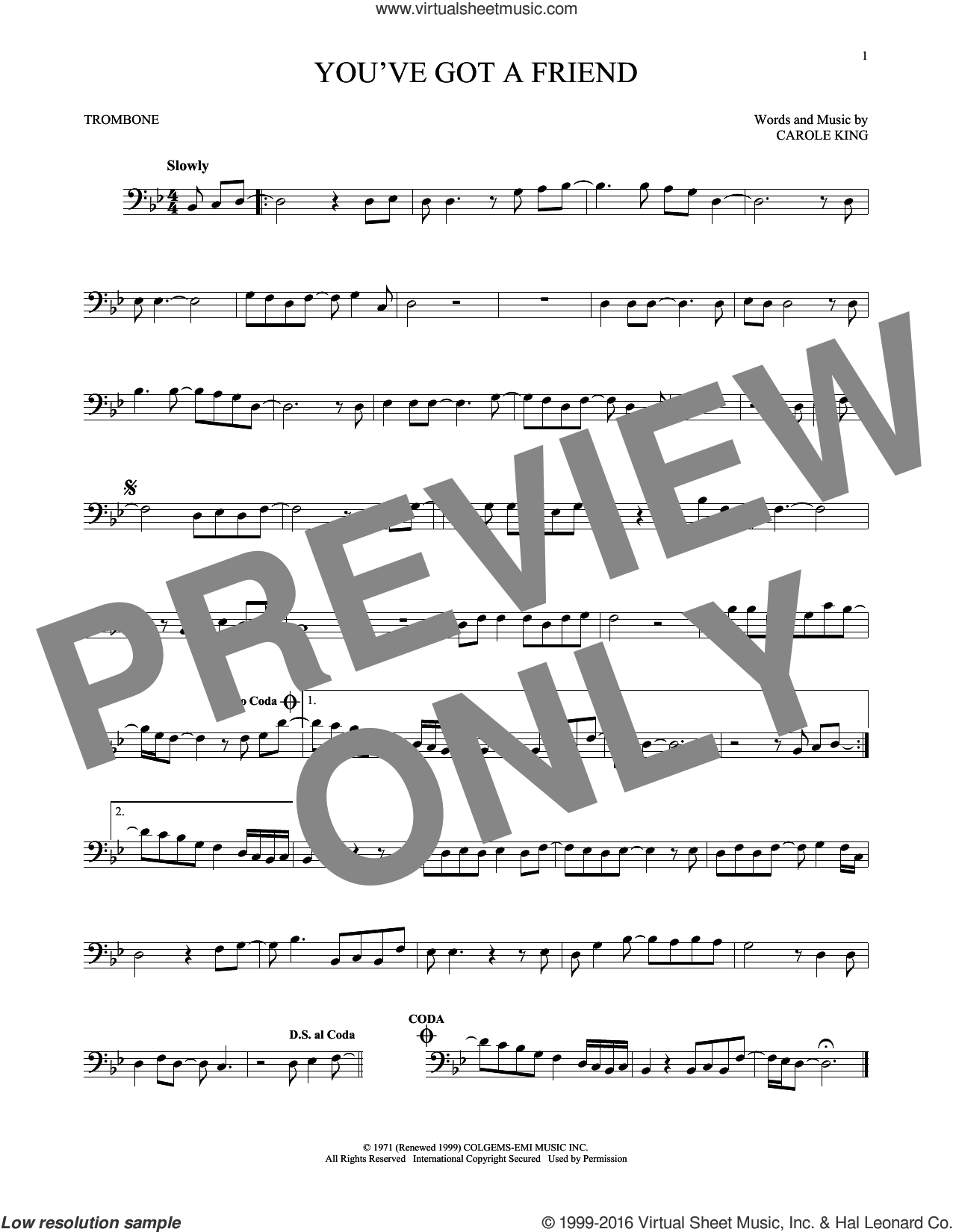 You've Got A Friend sheet music for trombone solo by James Taylor and Carole King, intermediate skill level
