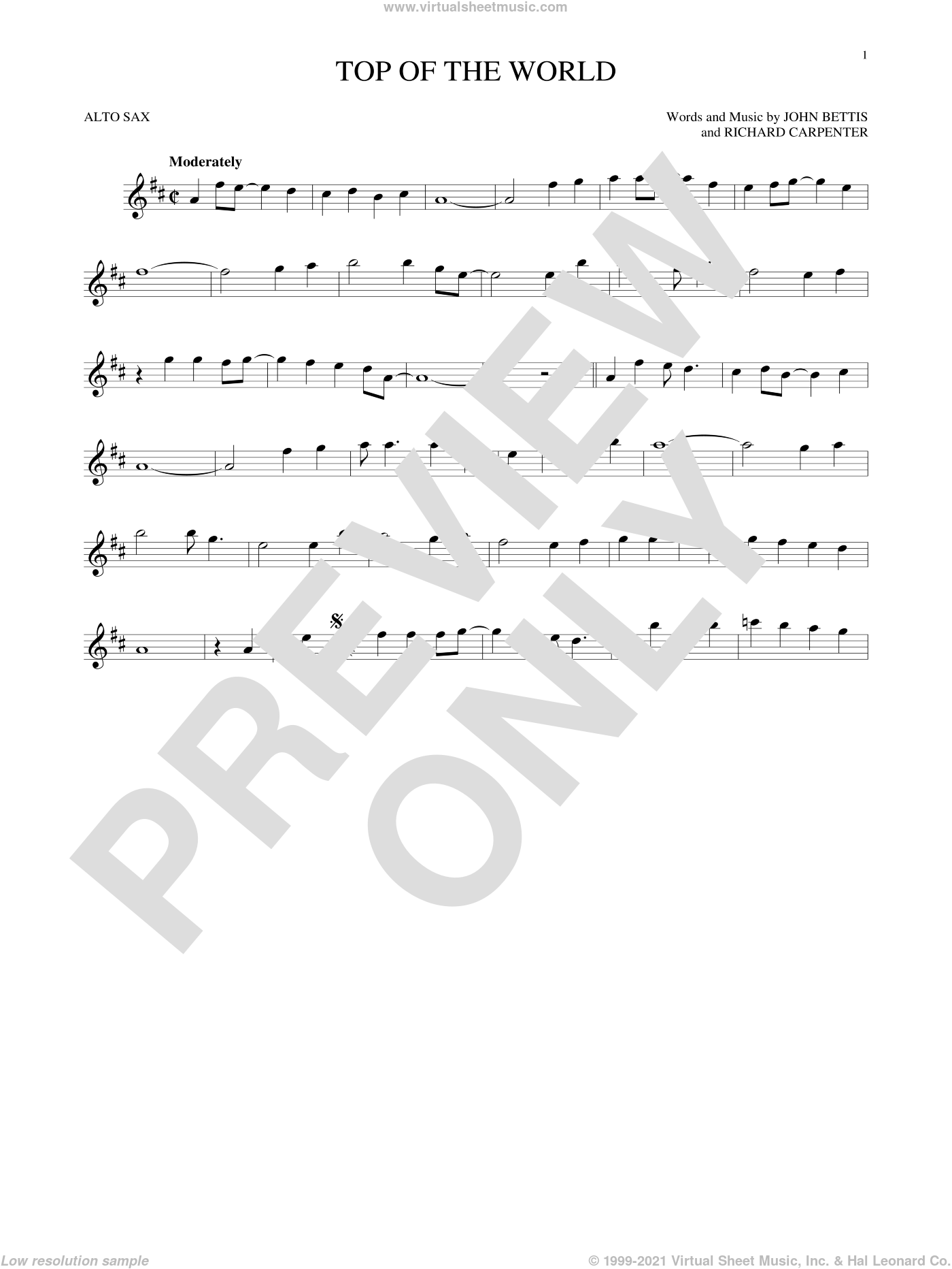 Top Of The World sheet music for alto saxophone solo by John Bettis, Carpenters and Richard Carpenter, intermediate skill level