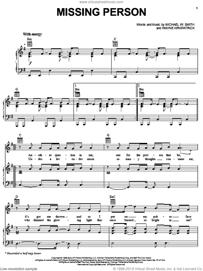 Missing Person sheet music for voice, piano or guitar by Michael W. Smith, intermediate. Score Image Preview.