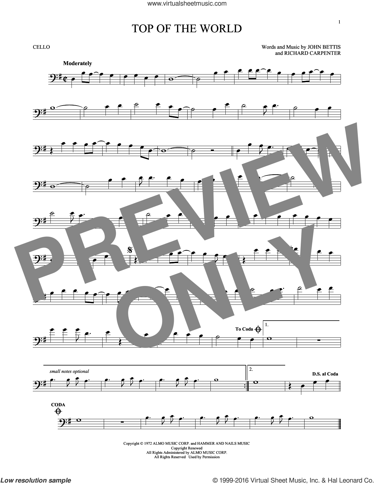 Top Of The World sheet music for cello solo by John Bettis, Carpenters and Richard Carpenter, intermediate skill level