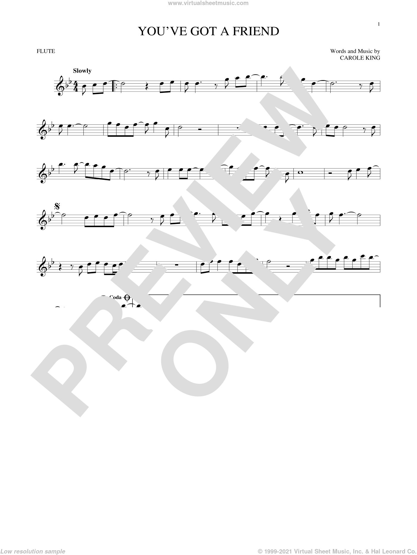 You've Got A Friend sheet music for flute solo by James Taylor and Carole King, intermediate skill level