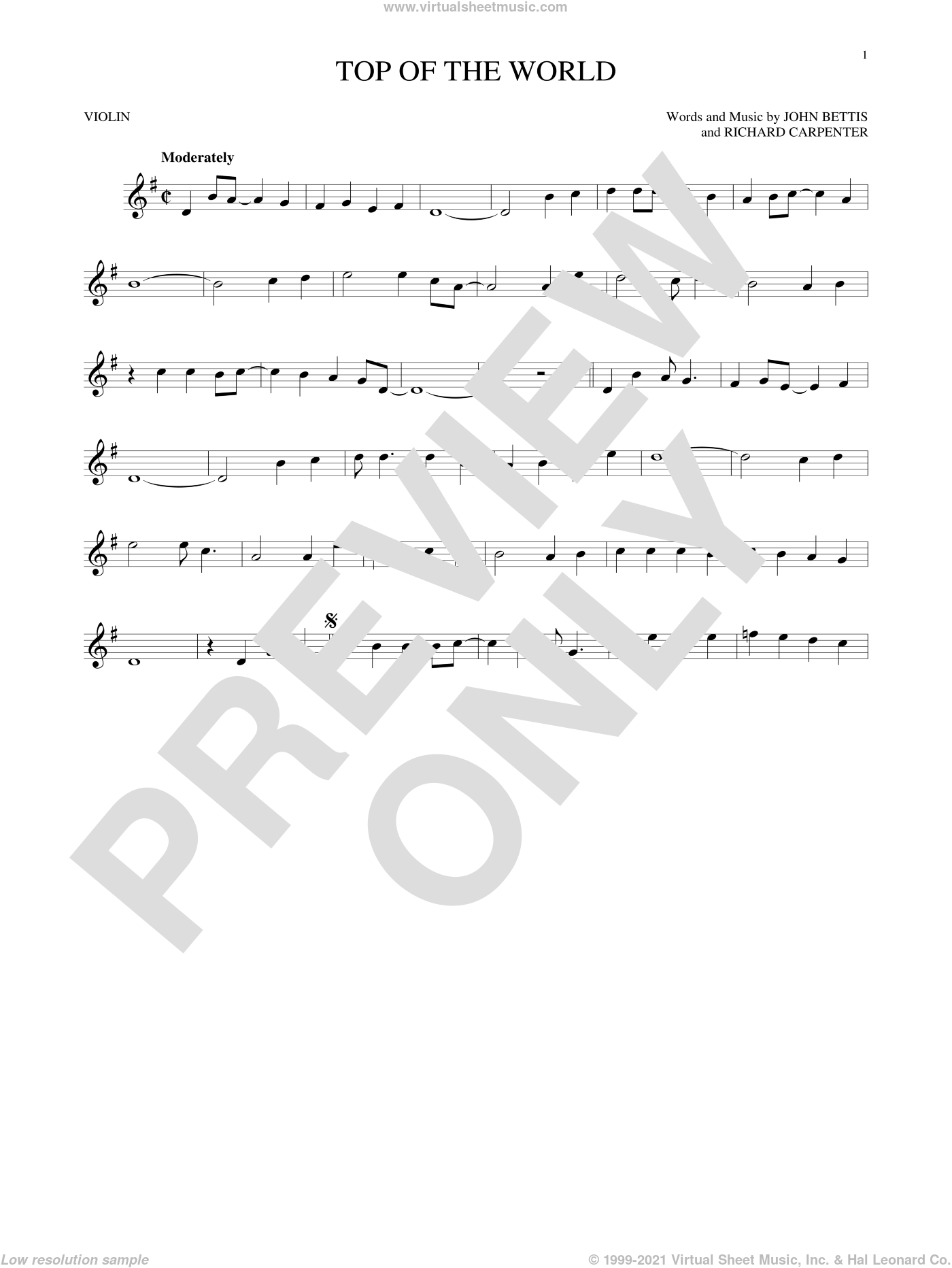 Top Of The World sheet music for violin solo by John Bettis, Carpenters and Richard Carpenter, intermediate skill level