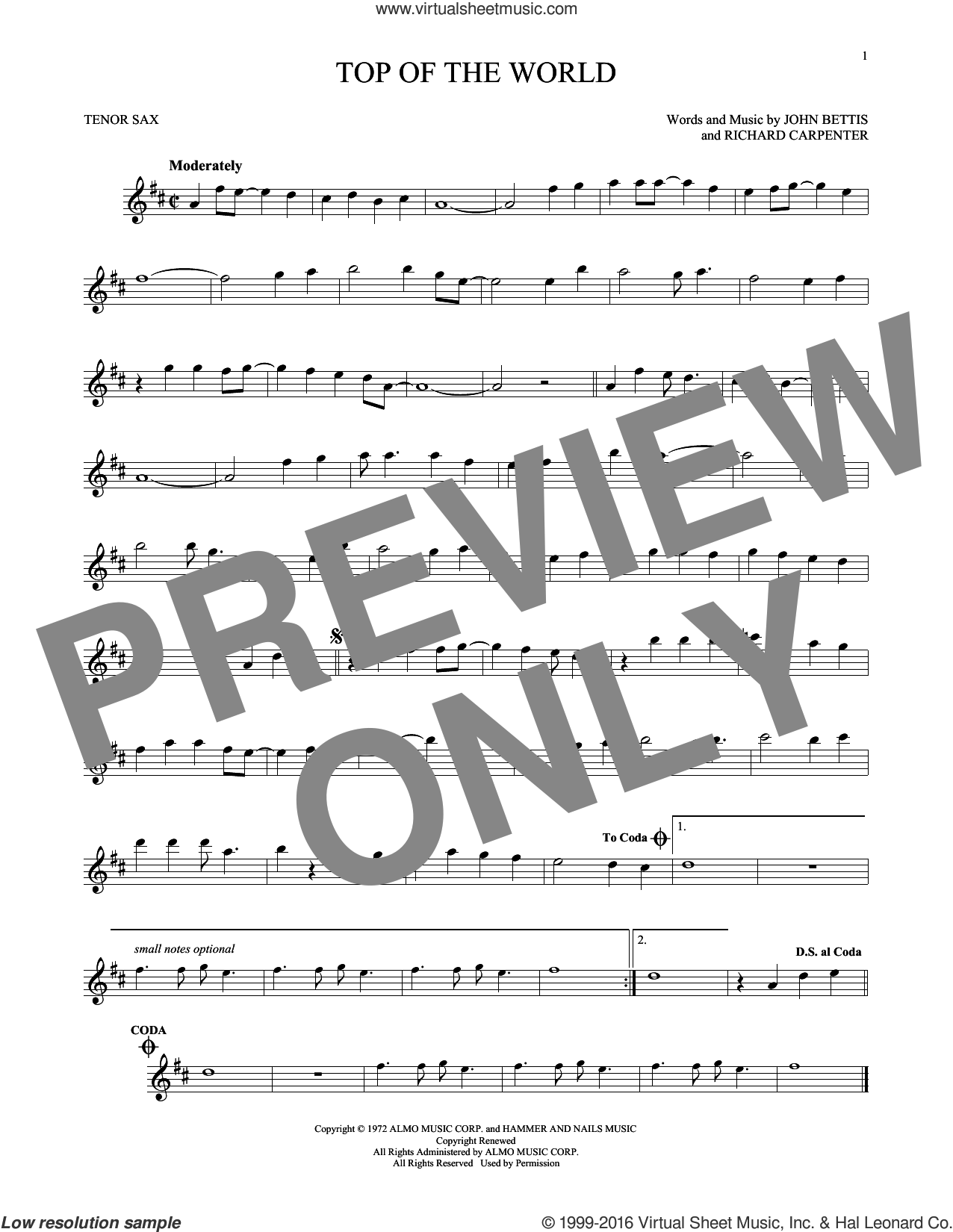 Top Of The World sheet music for tenor saxophone solo by John Bettis and Carpenters, intermediate tenor saxophone. Score Image Preview.
