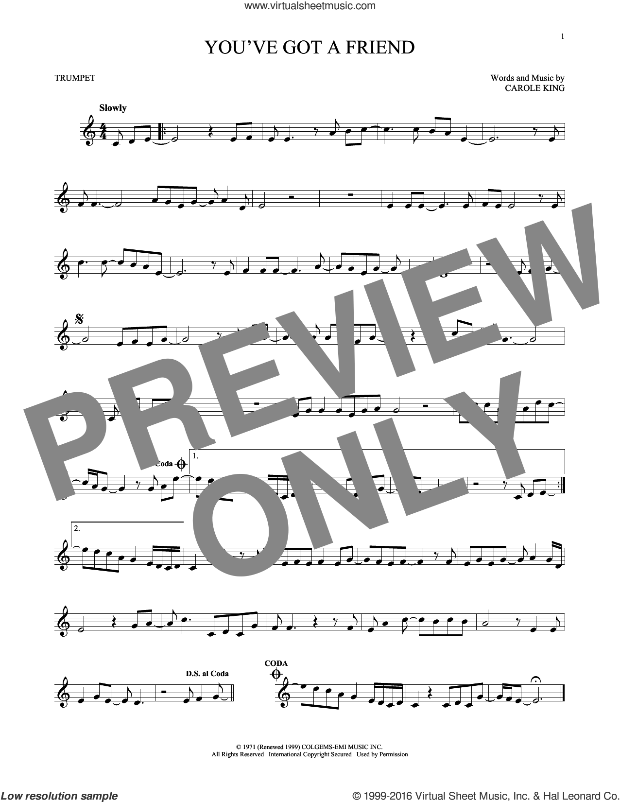 You've Got A Friend sheet music for trumpet solo by James Taylor and Carole King, intermediate skill level