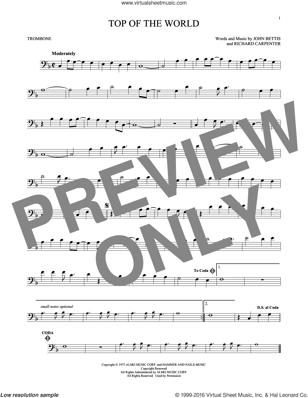Top Of The World sheet music for trombone solo by Richard Carpenter, Carpenters and John Bettis. Score Image Preview.