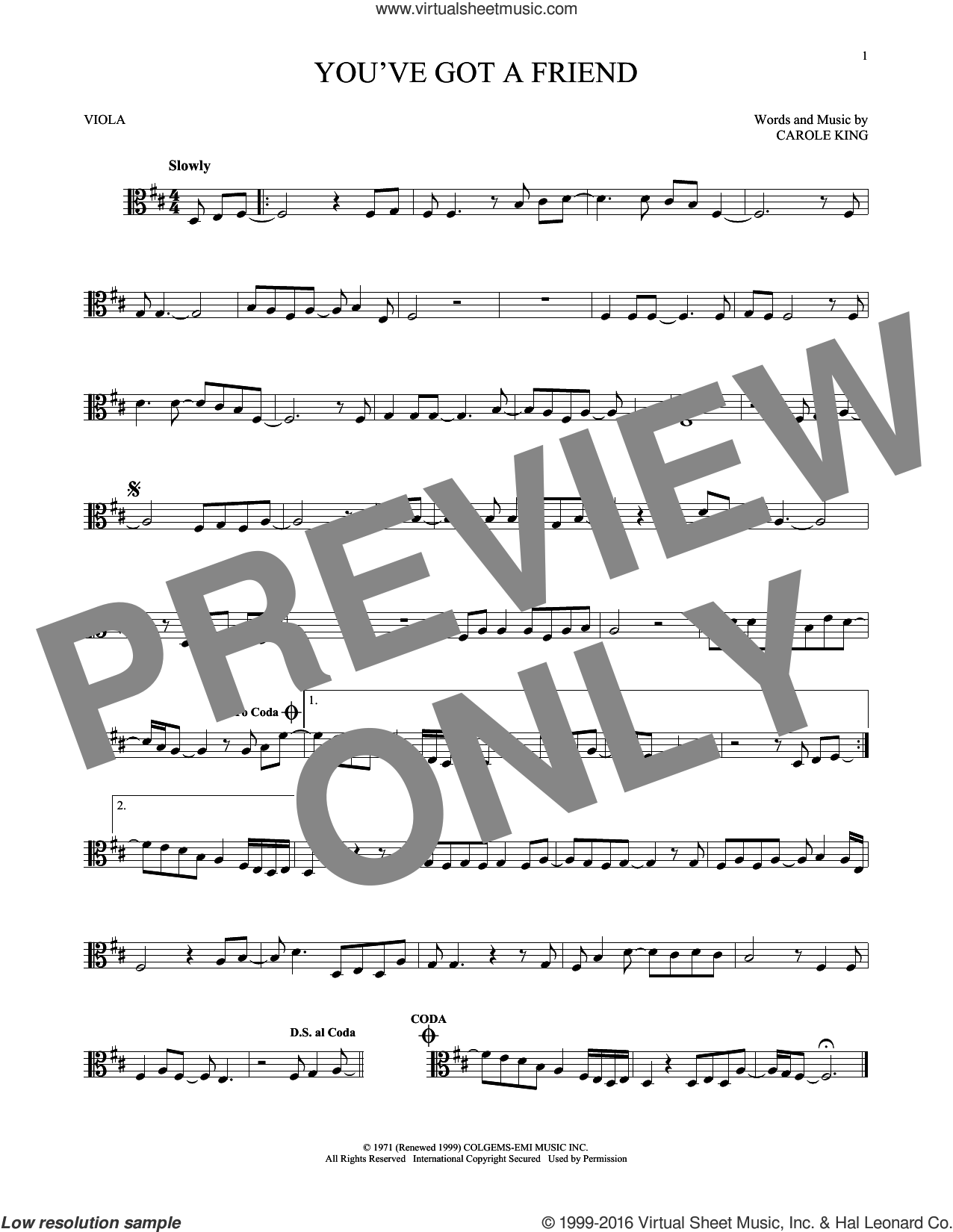 You've Got A Friend sheet music for viola solo by James Taylor and Carole King, intermediate skill level