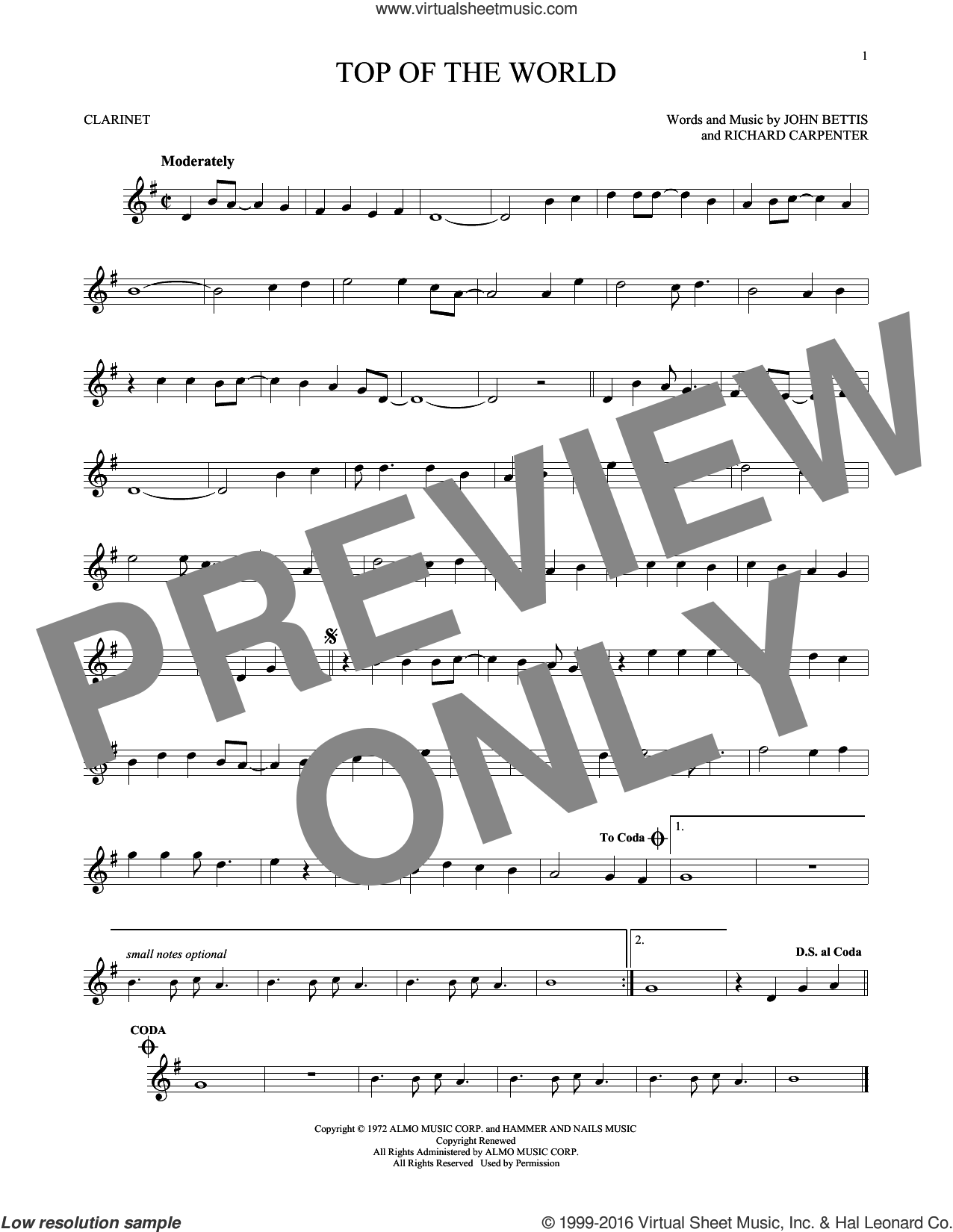 Top Of The World sheet music for clarinet solo by John Bettis, Carpenters and Richard Carpenter, intermediate skill level