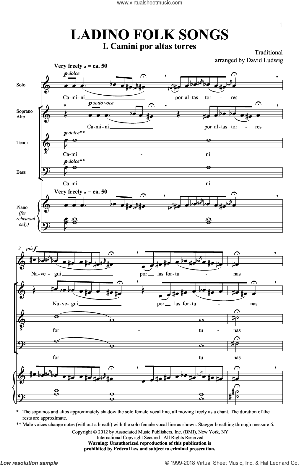 Ladino Folk Songs sheet music for choir (SATB) by David Ludwig. Score Image Preview.