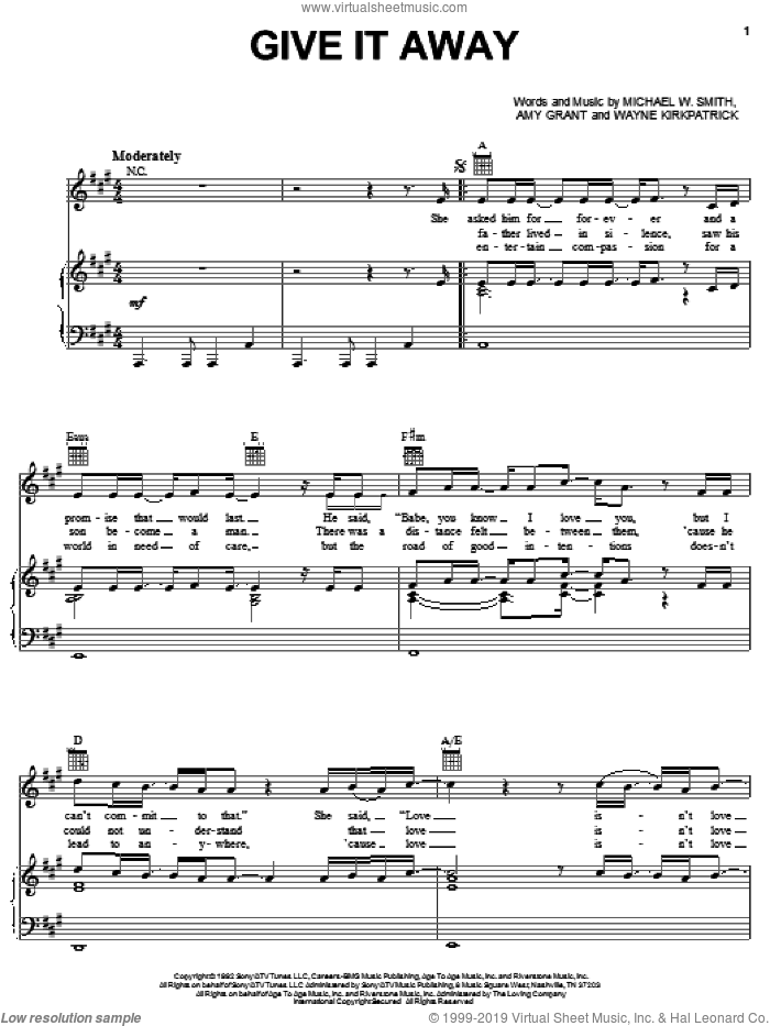 Give It Away sheet music for voice, piano or guitar by Wayne Kirkpatrick, Amy Grant and Michael W. Smith. Score Image Preview.