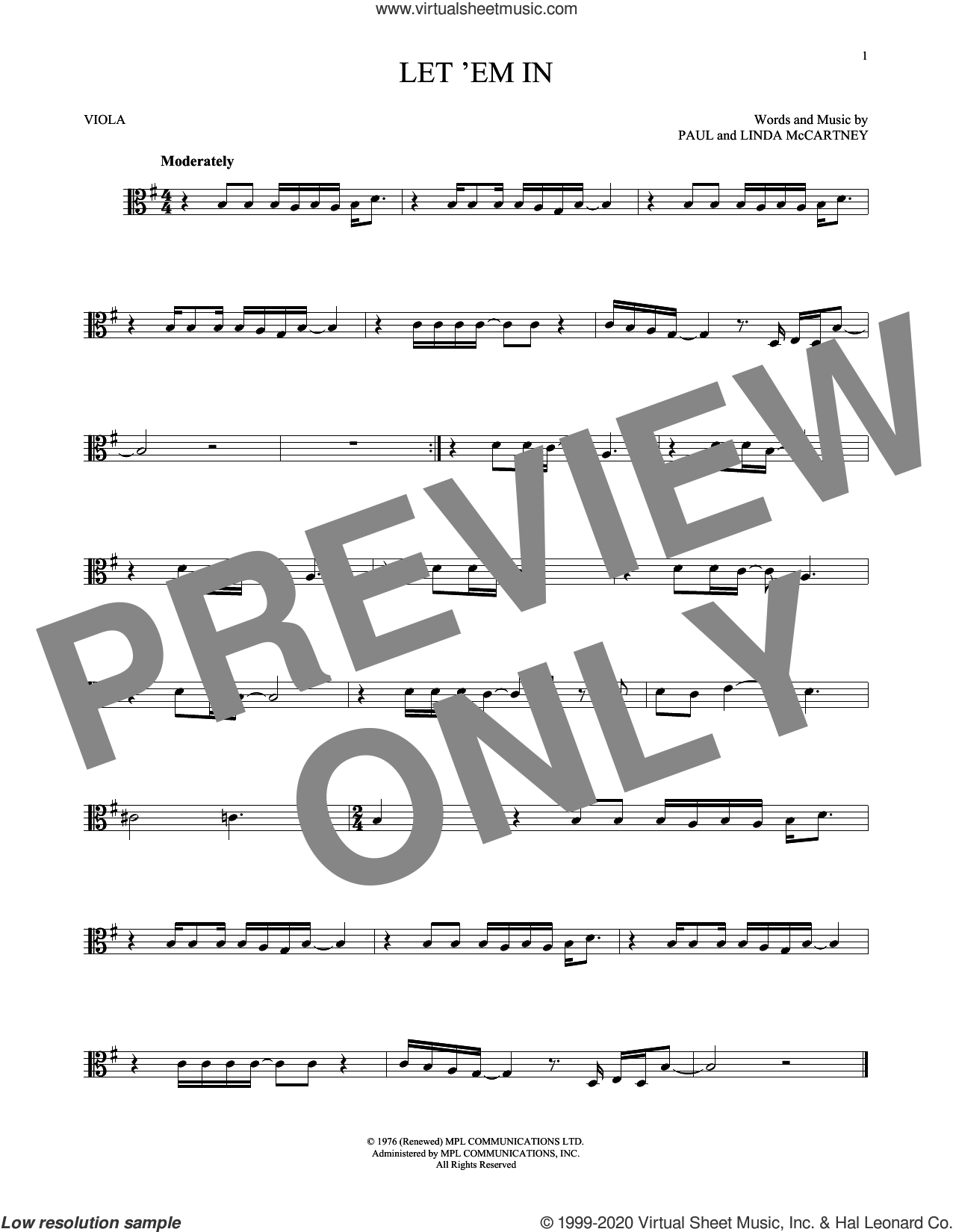 Let 'Em In sheet music for viola solo by Wings, Linda McCartney and Paul McCartney, intermediate skill level