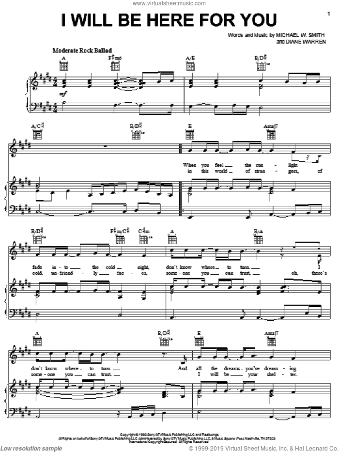 I Will Be Here For You sheet music for voice, piano or guitar by Michael W. Smith and Diane Warren, wedding score, intermediate. Score Image Preview.