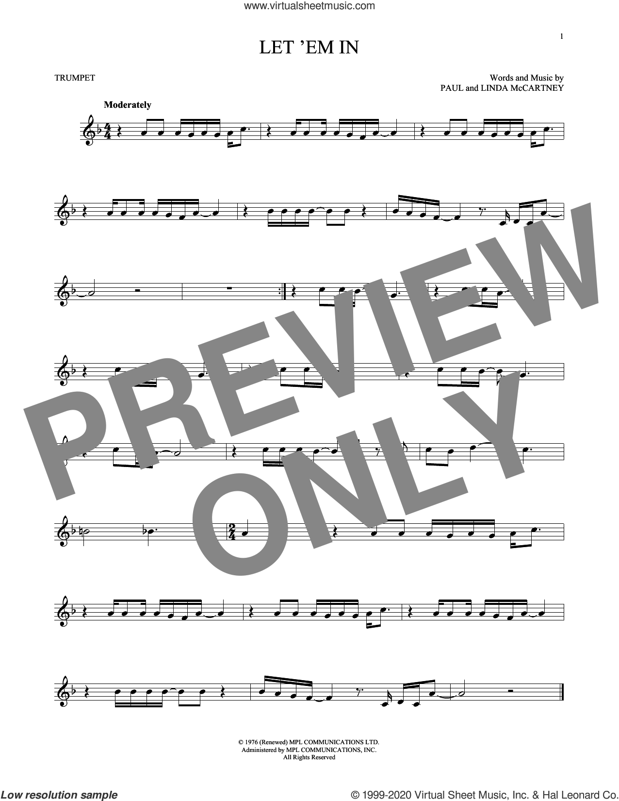 Let 'Em In sheet music for trumpet solo by Wings, Linda McCartney and Paul McCartney, intermediate skill level