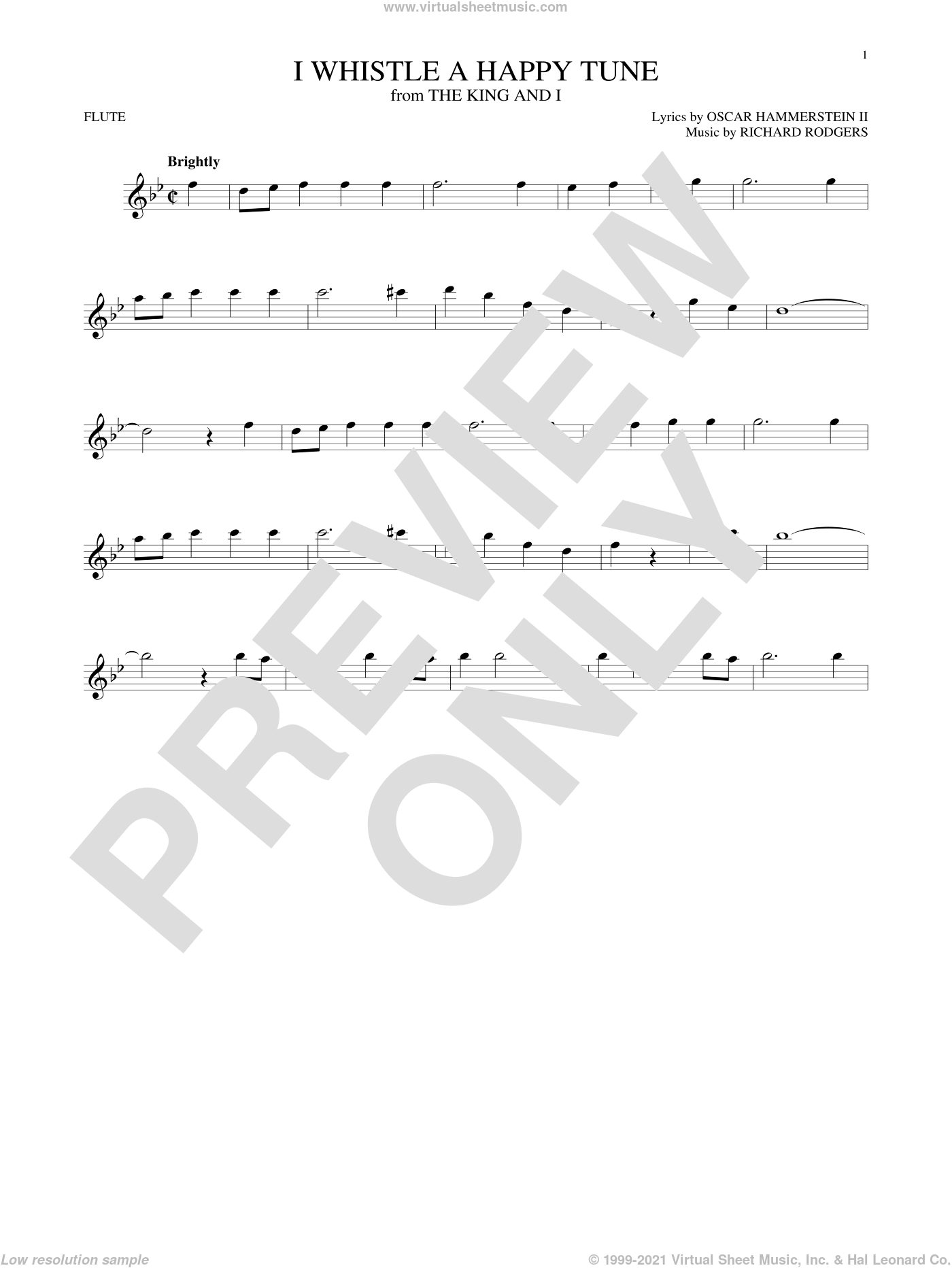 I Whistle A Happy Tune sheet music for flute solo by Richard Rodgers, Oscar II Hammerstein and Rodgers & Hammerstein, intermediate flute. Score Image Preview.