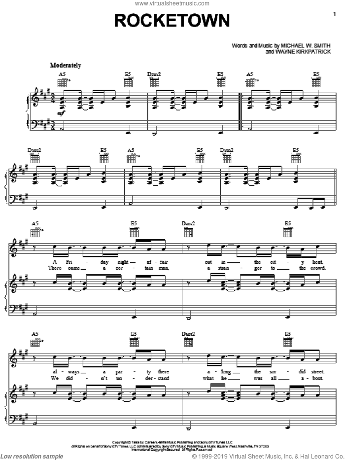 Rocketown sheet music for voice, piano or guitar by Michael W. Smith and Wayne Kirkpatrick, intermediate skill level