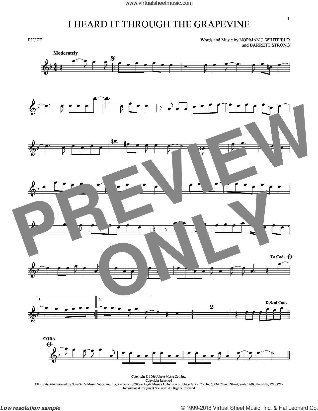 I Heard It Through The Grapevine sheet music for flute solo by Norman Whitfield, Barrett Strong and Norman Whitfield & Barrett Strong, intermediate
