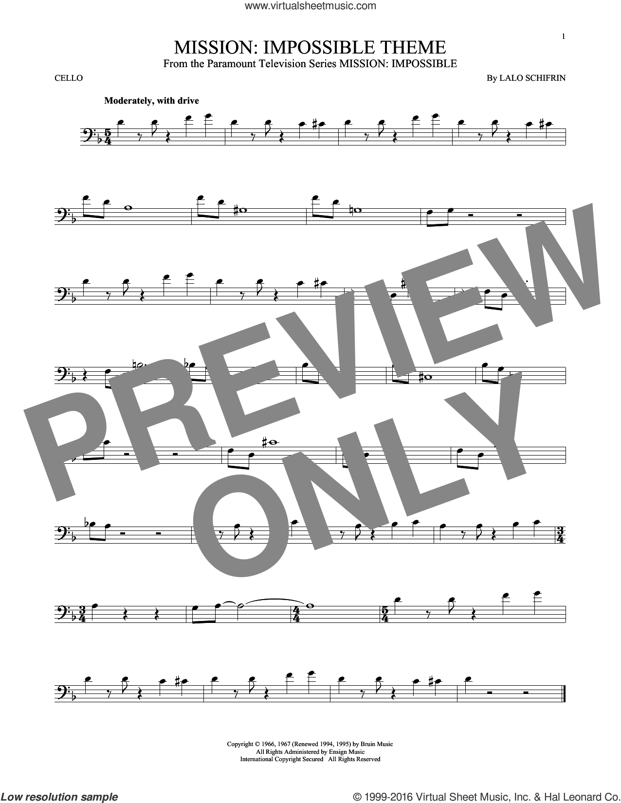 Mission: Impossible Theme sheet music for cello solo by Lalo Schifrin, intermediate. Score Image Preview.