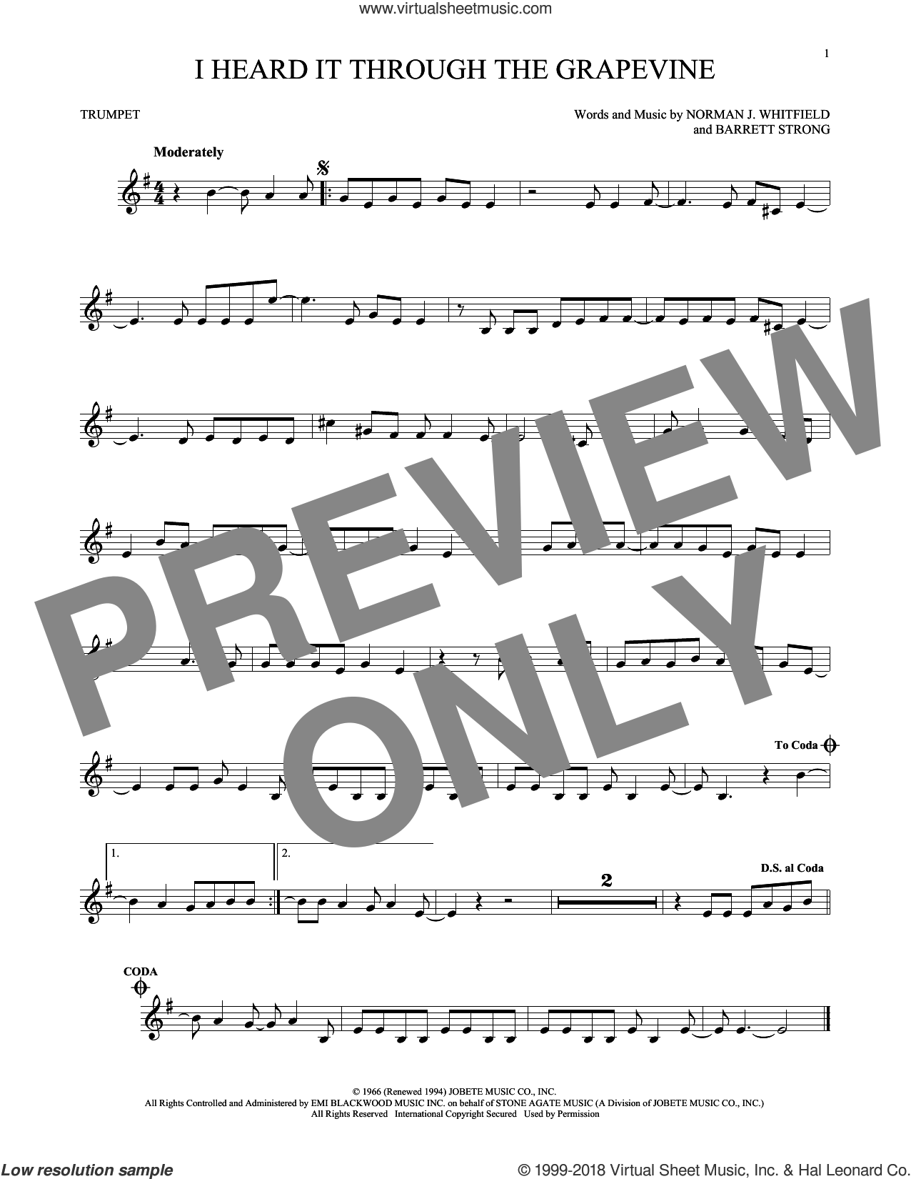 I Heard It Through The Grapevine sheet music for trumpet solo by Norman Whitfield, Barrett Strong and Norman Whitfield & Barrett Strong, intermediate skill level