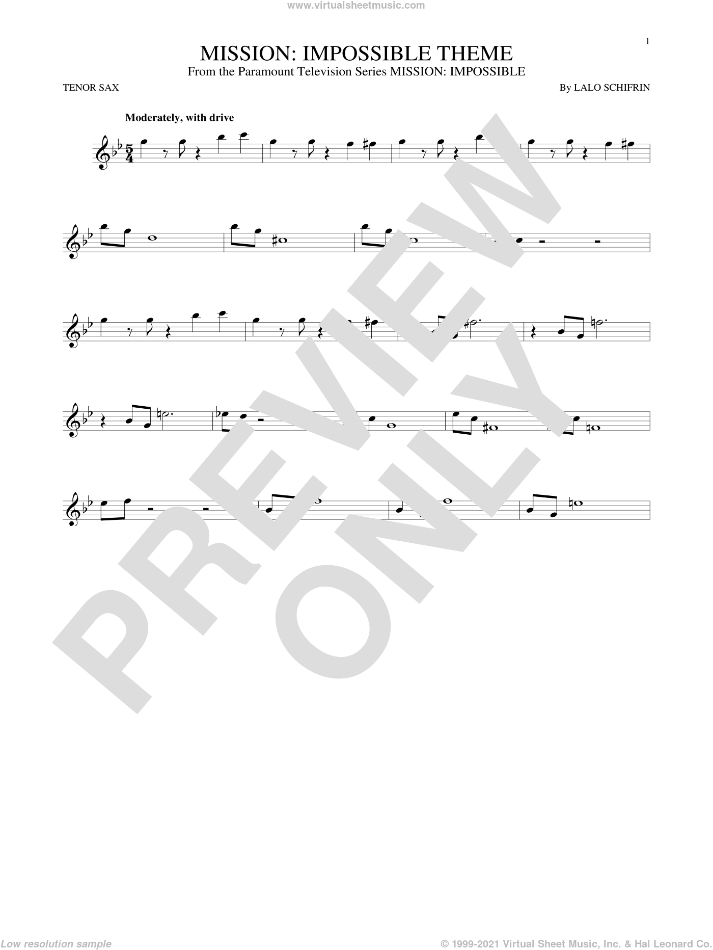 Mission: Impossible Theme sheet music for tenor saxophone solo by Lalo Schifrin