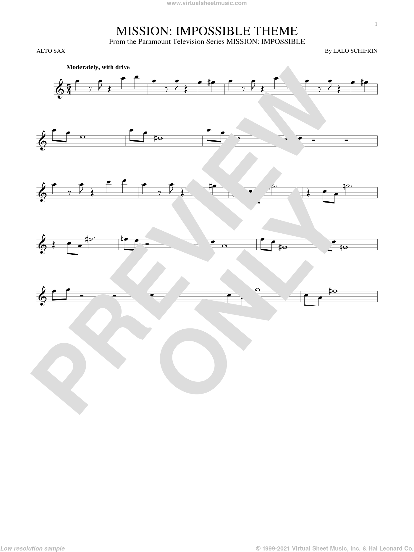 Mission: Impossible Theme sheet music for alto saxophone solo by Lalo Schifrin, intermediate skill level