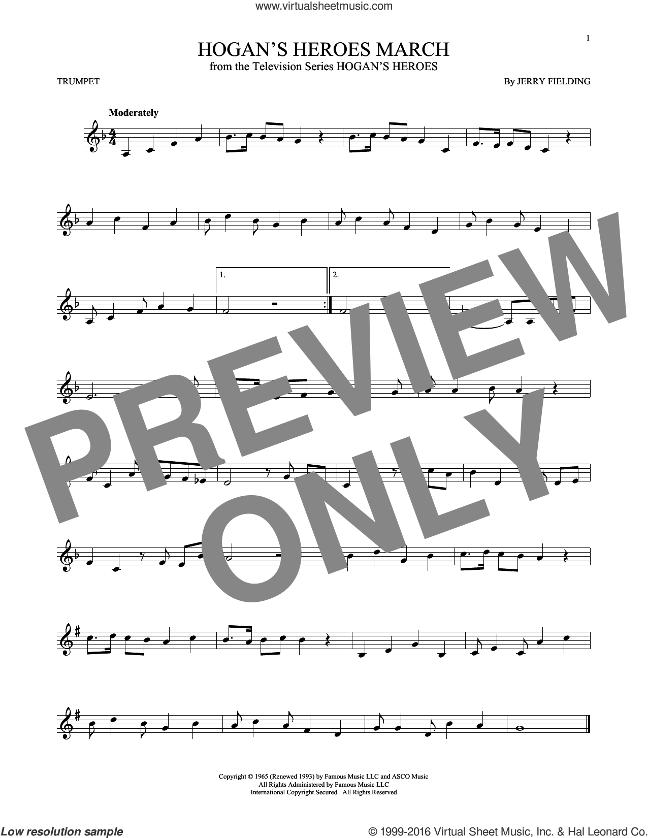 Hogan's Heroes March sheet music for trumpet solo by Jerry Fielding, intermediate
