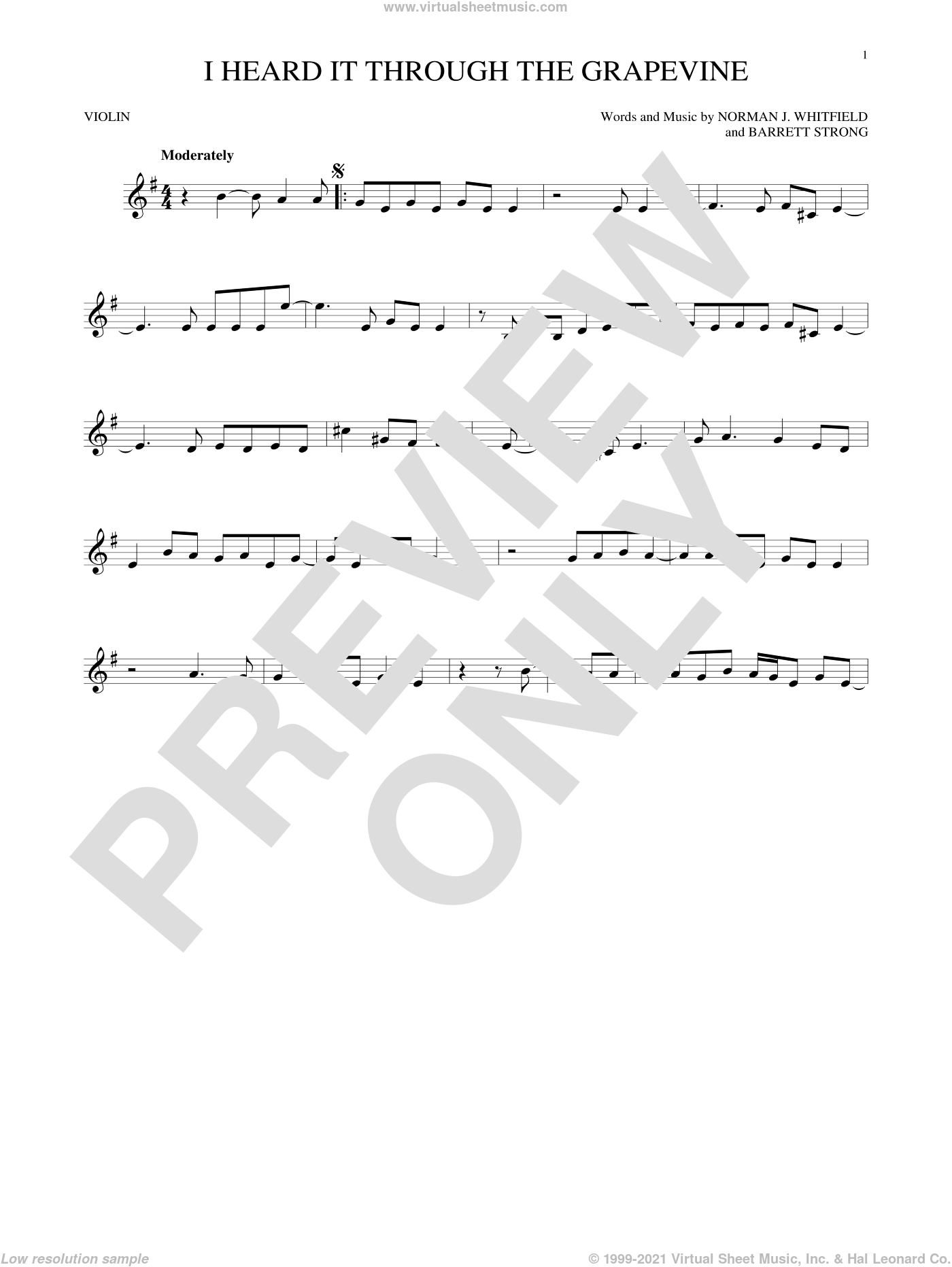 I Heard It Through The Grapevine sheet music for violin solo by Norman Whitfield and Barrett Strong. Score Image Preview.