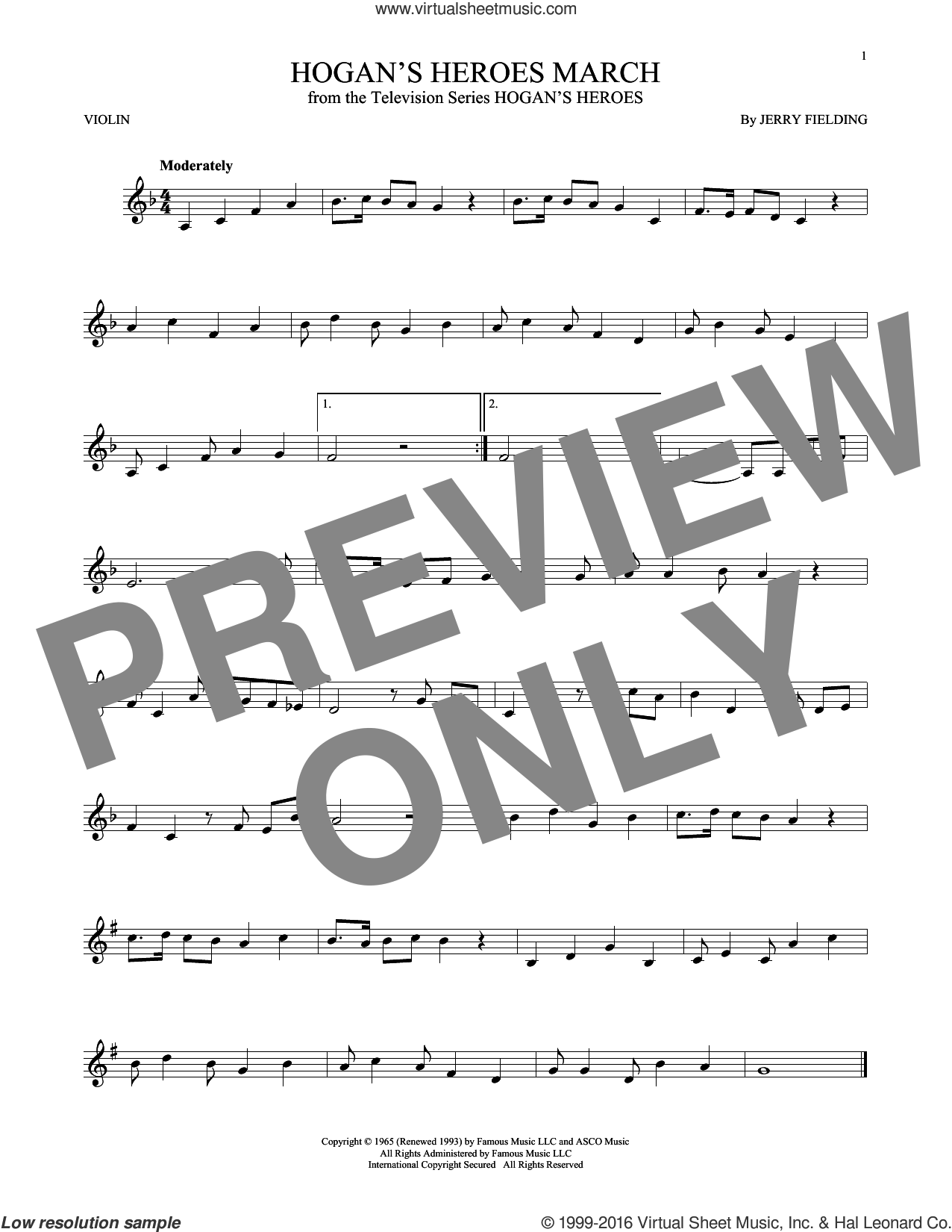 Hogan's Heroes March sheet music for violin solo by Jerry Fielding, intermediate. Score Image Preview.