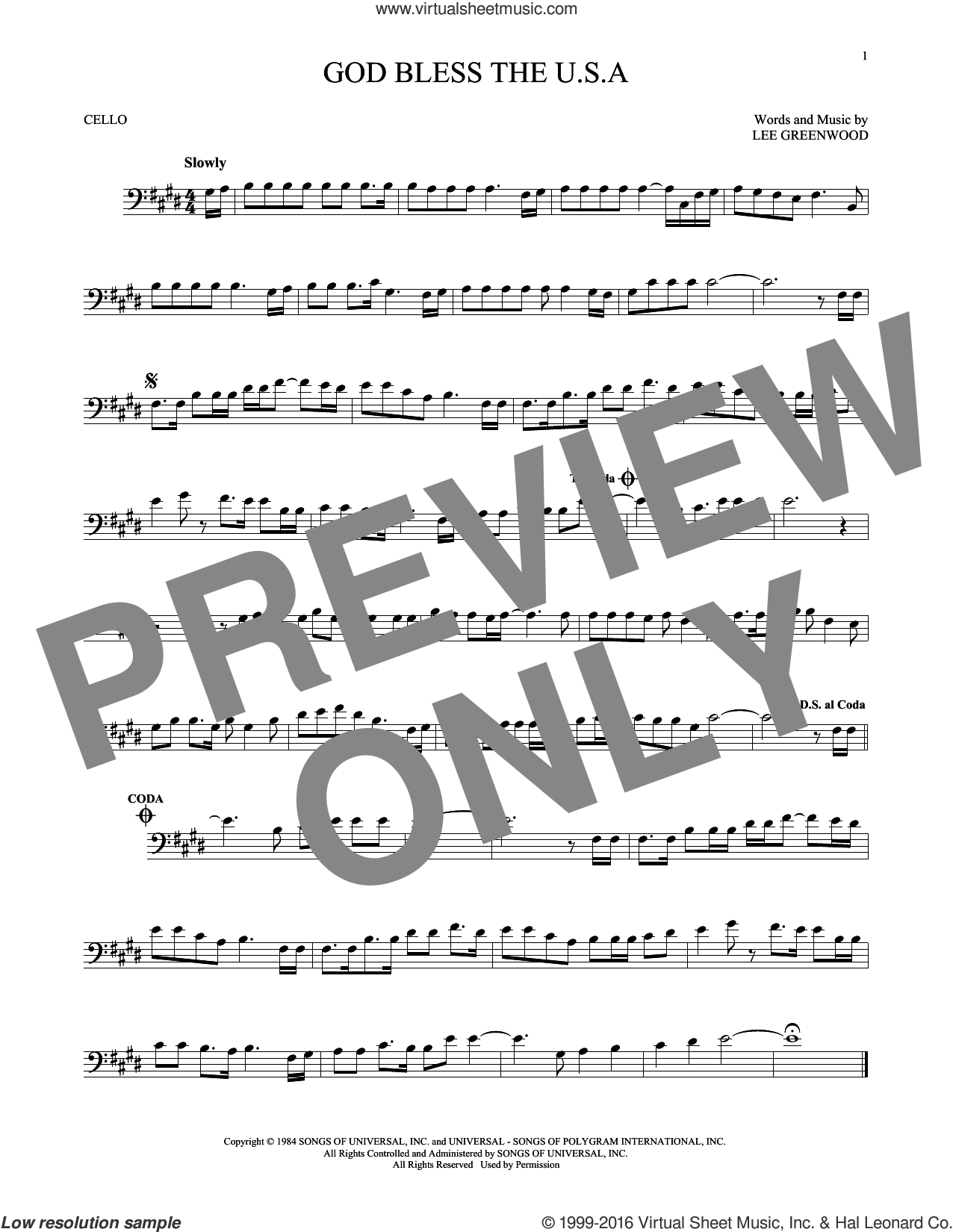 God Bless The U.S.A. sheet music for cello solo by Lee Greenwood, intermediate cello. Score Image Preview.