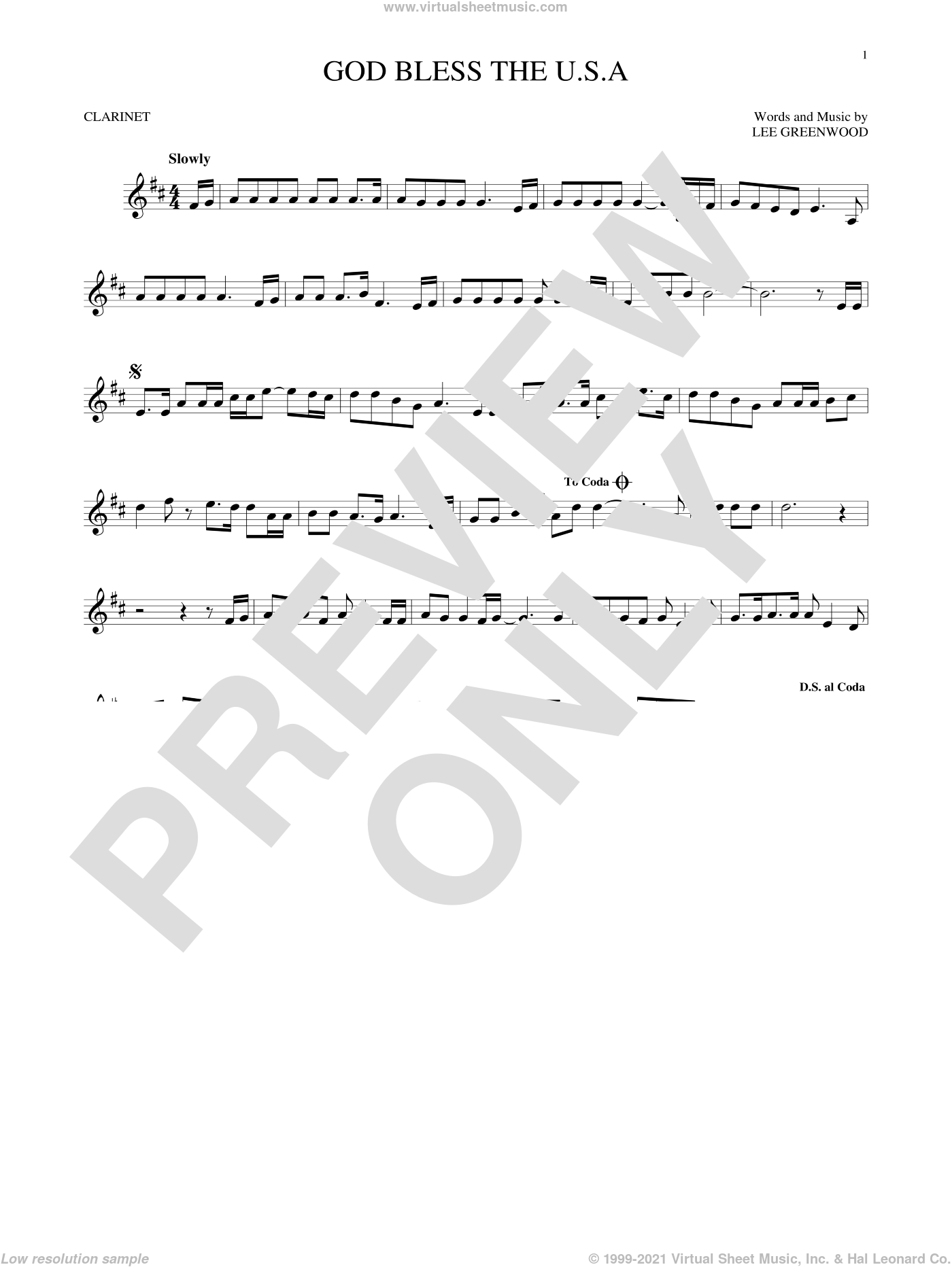 God Bless The U.S.A. sheet music for clarinet solo by Lee Greenwood. Score Image Preview.