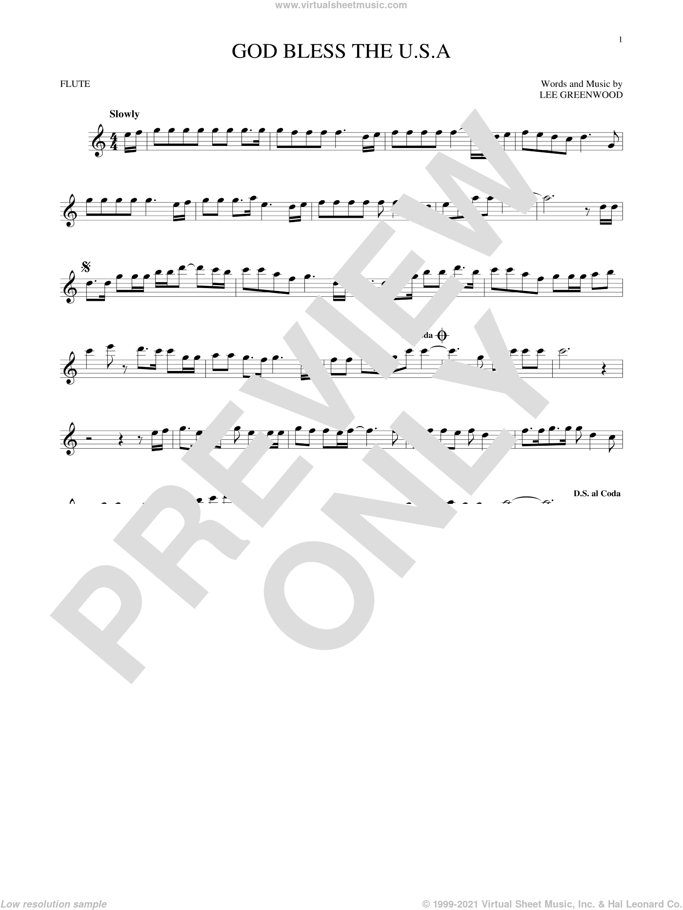 God Bless The U.S.A. sheet music for flute solo by Lee Greenwood, intermediate. Score Image Preview.