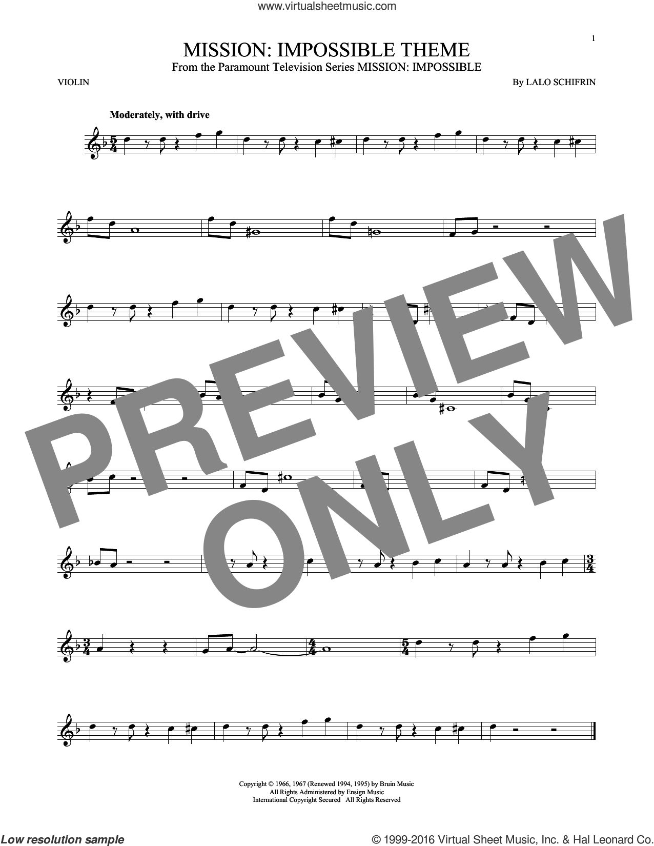 Mission: Impossible Theme sheet music for violin solo by Lalo Schifrin, intermediate skill level