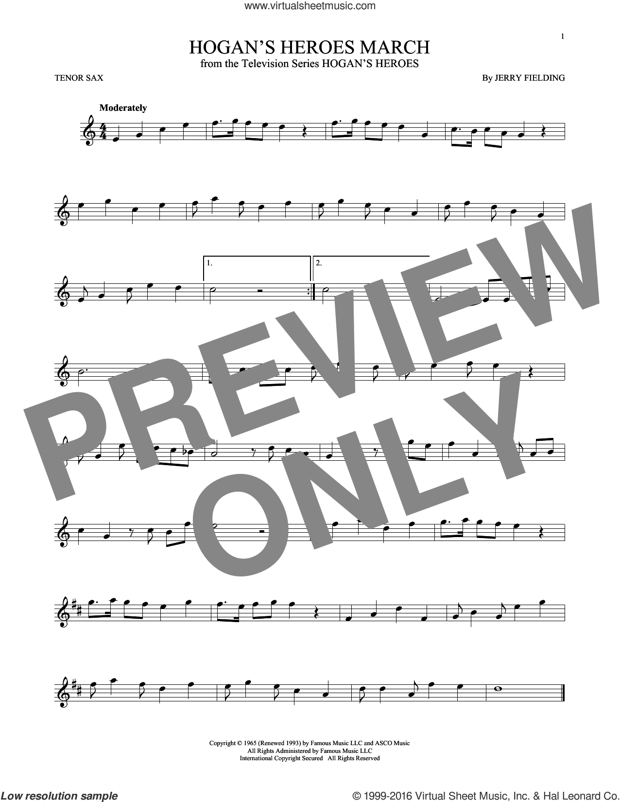 Hogan's Heroes March sheet music for tenor saxophone solo by Jerry Fielding. Score Image Preview.