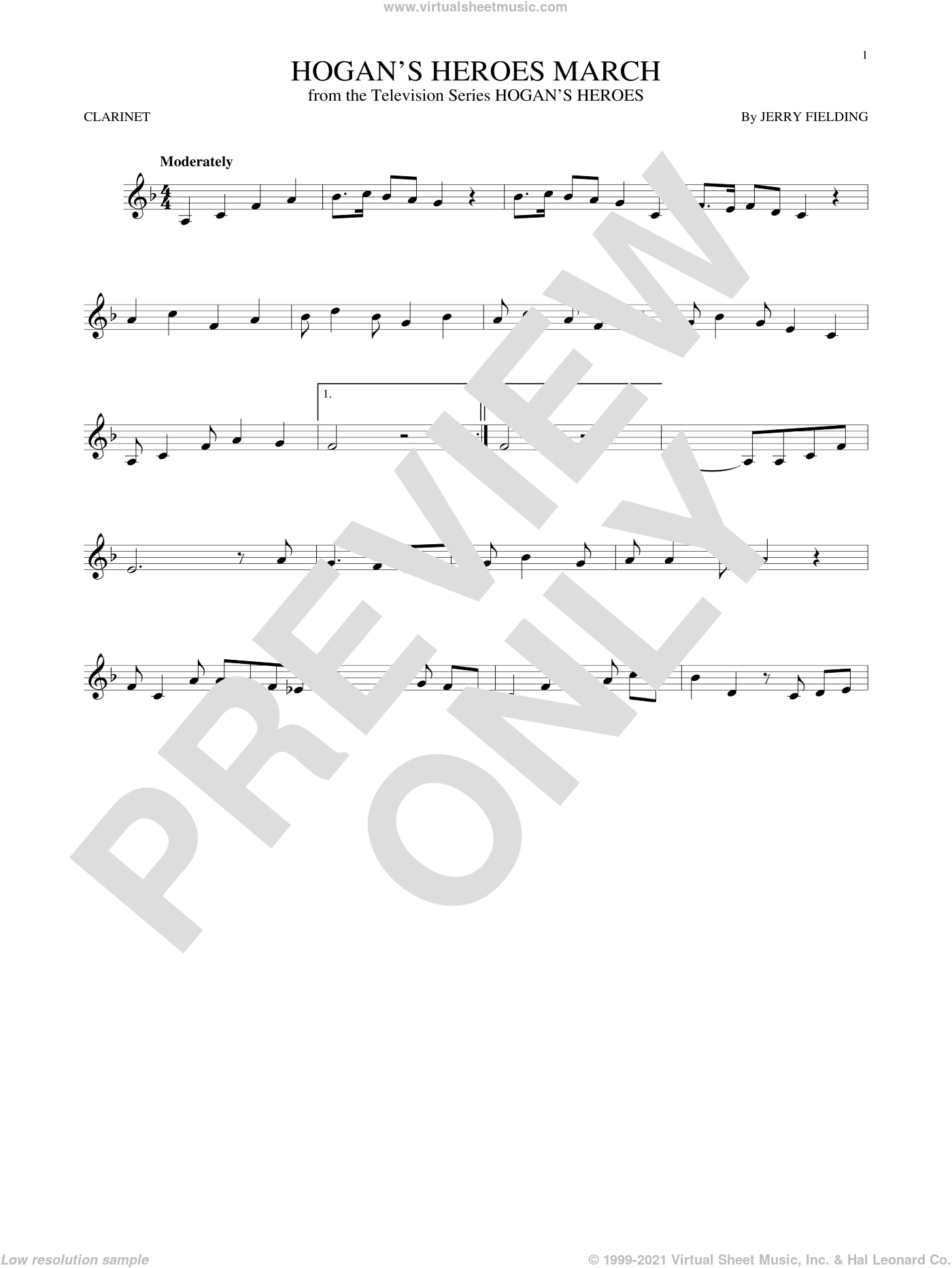 Hogan's Heroes March sheet music for clarinet solo by Jerry Fielding. Score Image Preview.