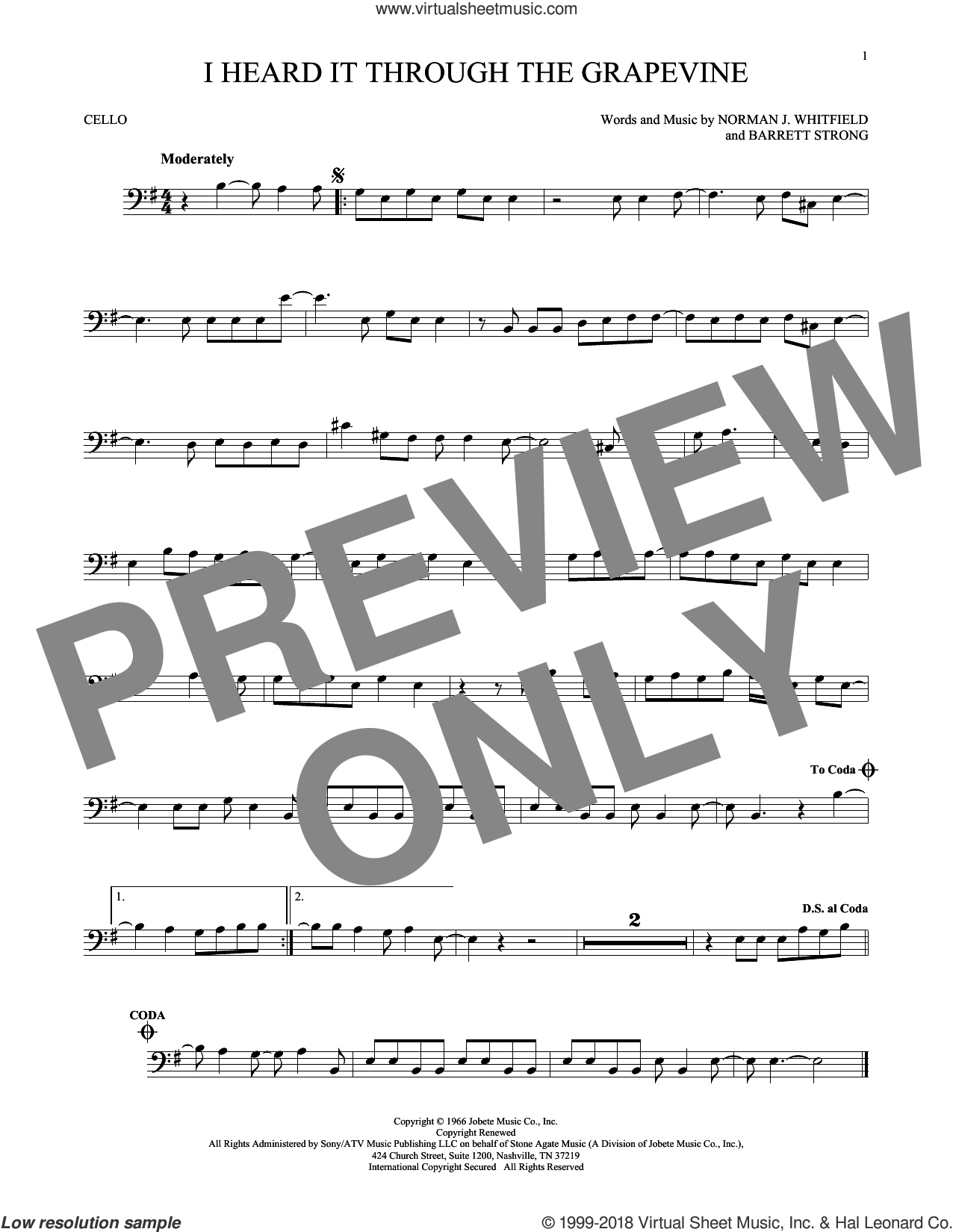 I Heard It Through The Grapevine sheet music for cello solo by Norman Whitfield, Barrett Strong and Norman Whitfield & Barrett Strong, intermediate skill level