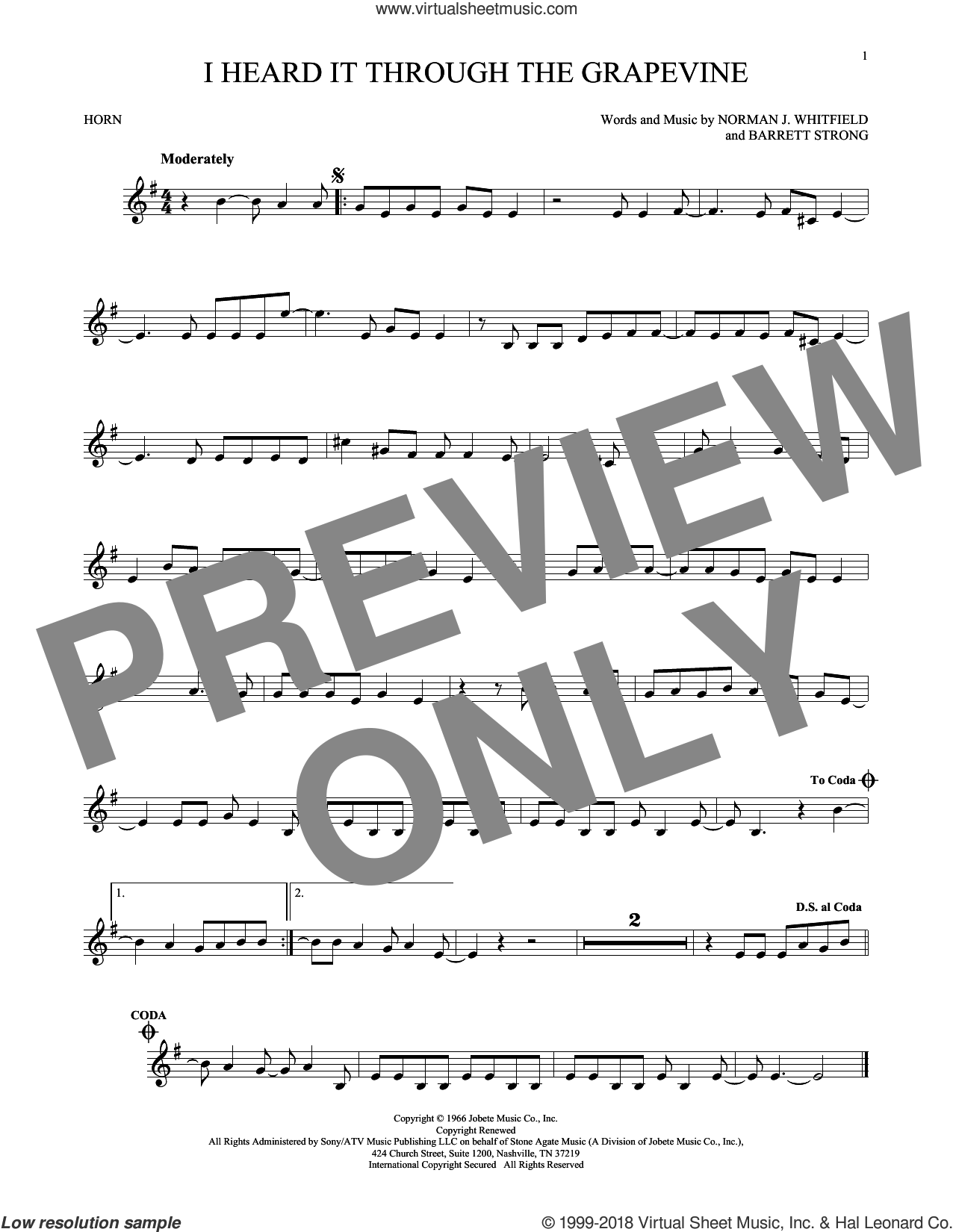 I Heard It Through The Grapevine sheet music for horn solo by Barrett Strong. Score Image Preview.