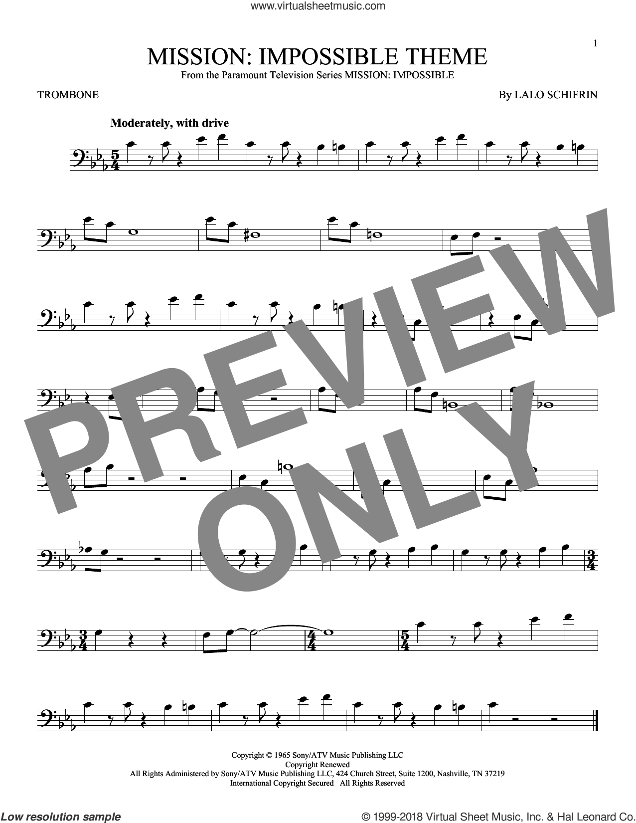 Mission: Impossible Theme sheet music for trombone solo by Lalo Schifrin, intermediate. Score Image Preview.
