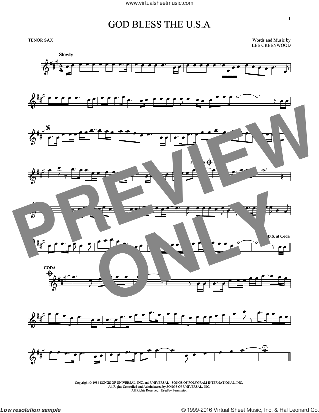God Bless The U.S.A. sheet music for tenor saxophone solo by Lee Greenwood, intermediate skill level