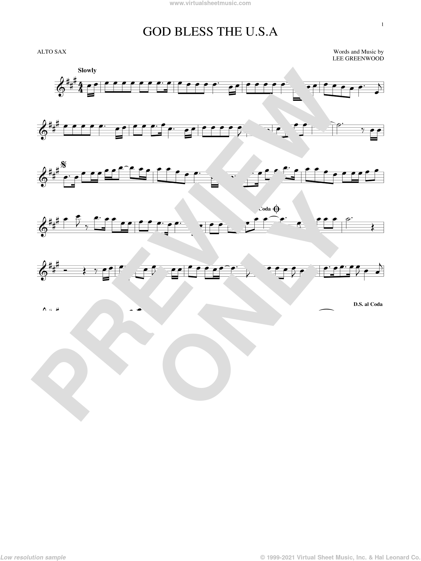 God Bless The U.S.A. sheet music for alto saxophone solo by Lee Greenwood, intermediate skill level