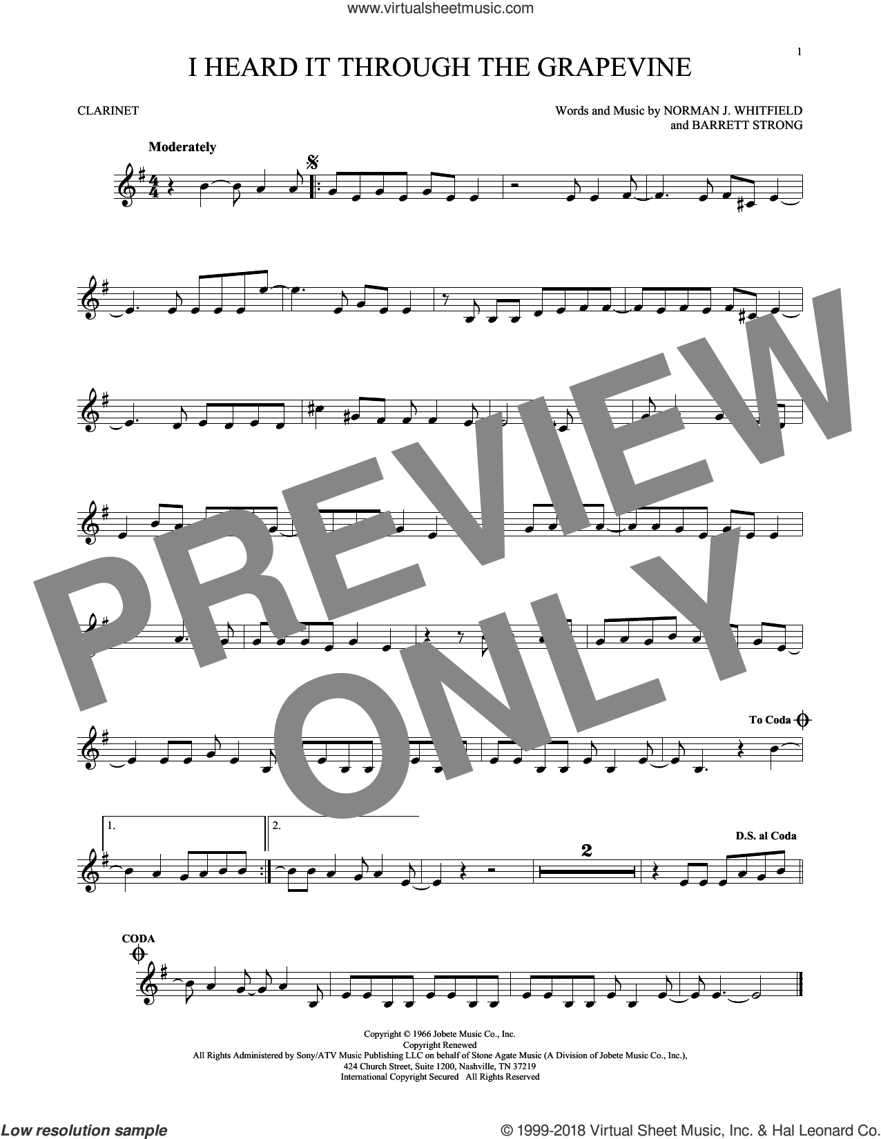 I Heard It Through The Grapevine sheet music for clarinet solo by Norman Whitfield, Barrett Strong and Norman Whitfield & Barrett Strong, intermediate skill level