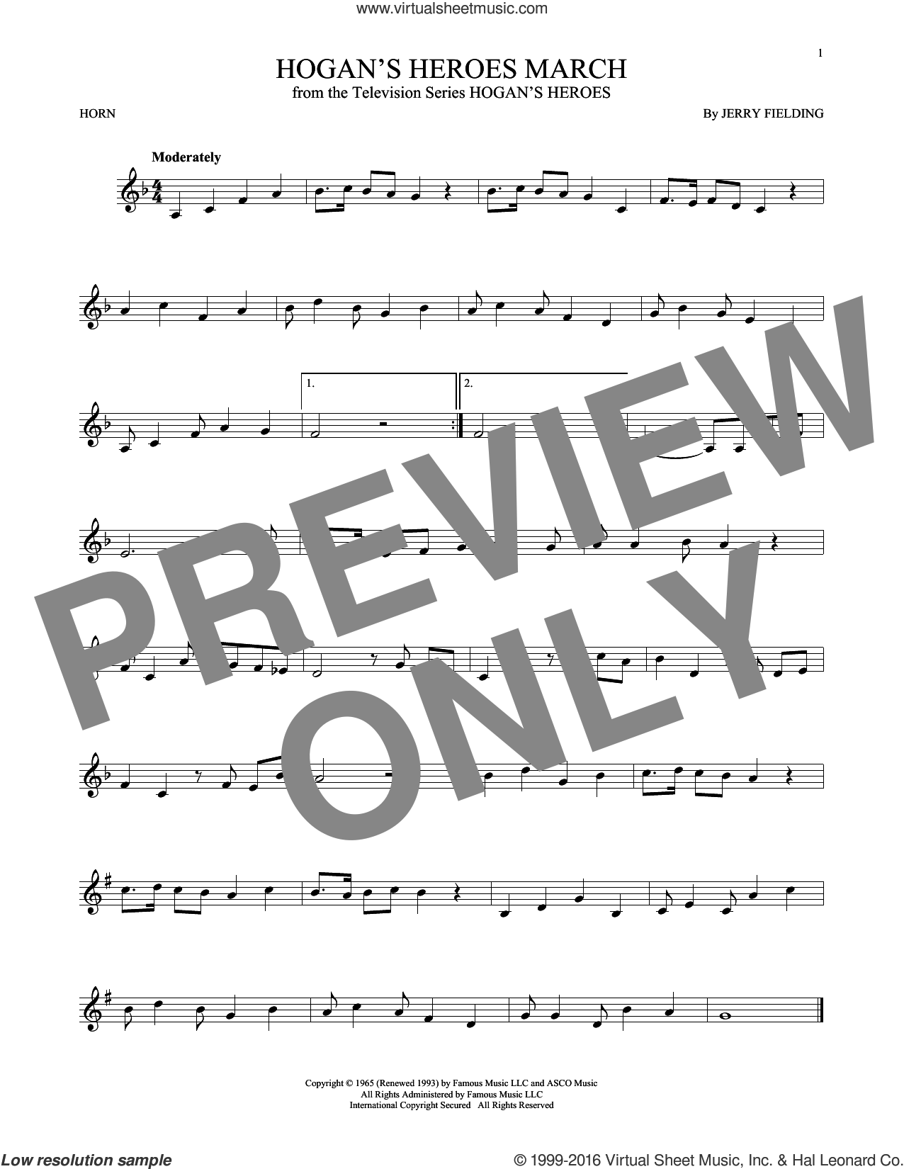 Hogan's Heroes March sheet music for horn solo by Jerry Fielding. Score Image Preview.