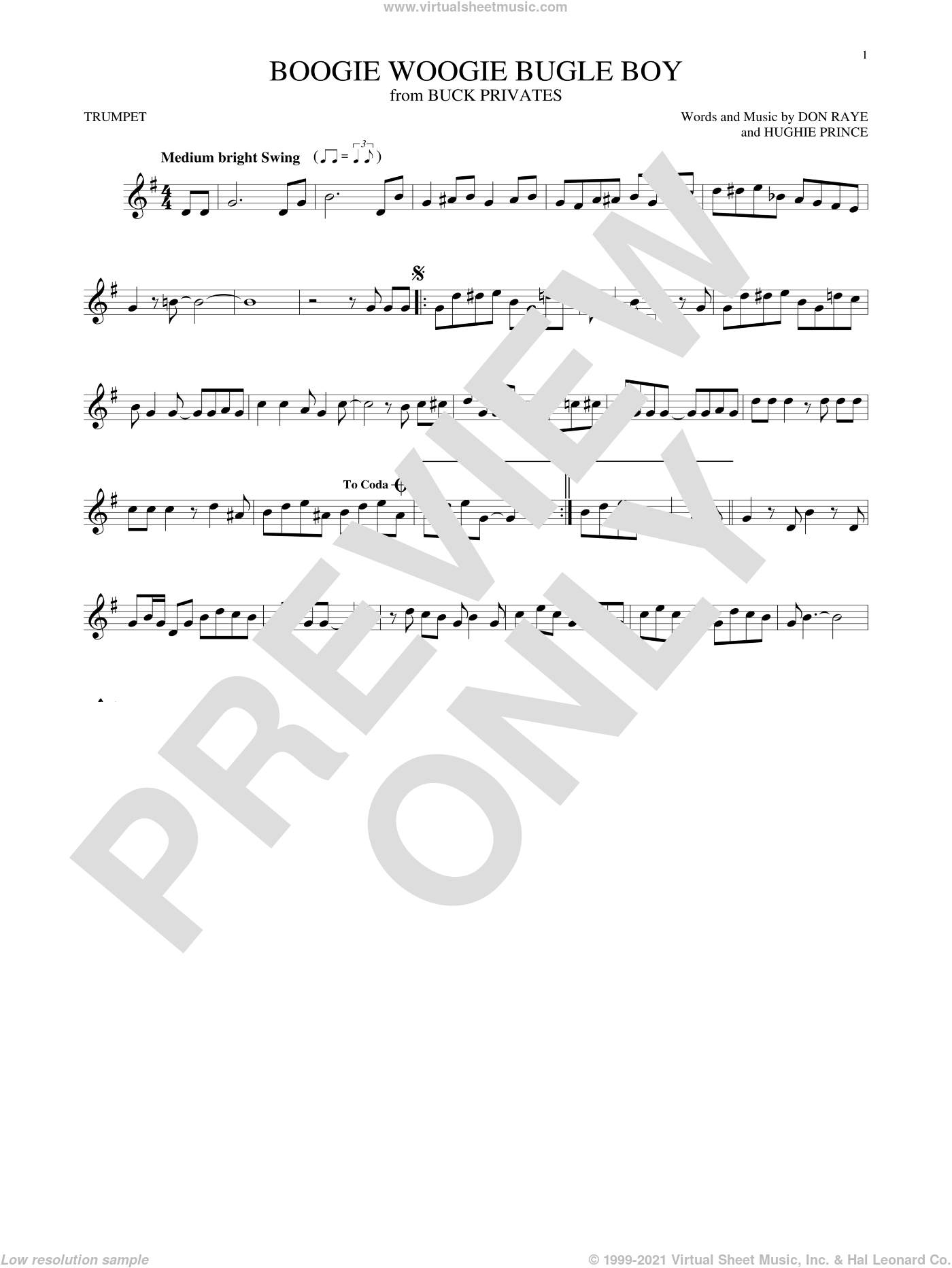 Boogie Woogie Bugle Boy sheet music for trumpet solo by Hughie Prince, Bette Midler and Don Raye. Score Image Preview.