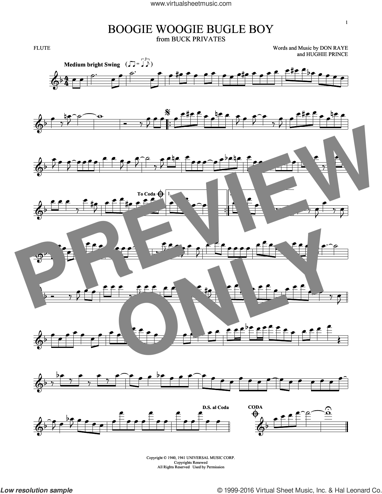 Boogie Woogie Bugle Boy sheet music for flute solo by Hughie Prince, Bette Midler and Don Raye. Score Image Preview.