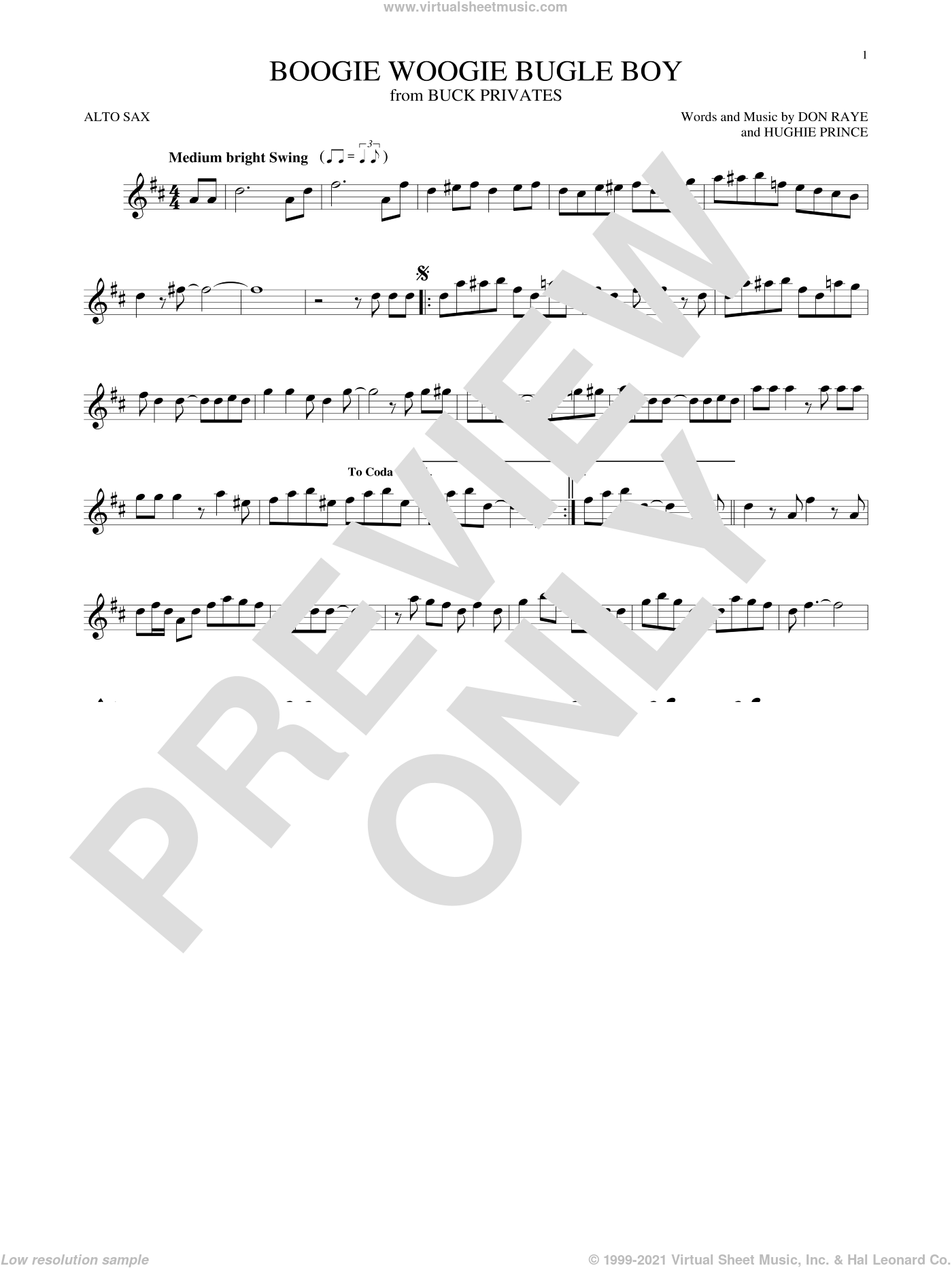 Boogie Woogie Bugle Boy sheet music for alto saxophone solo by Hughie Prince, Bette Midler and Don Raye. Score Image Preview.