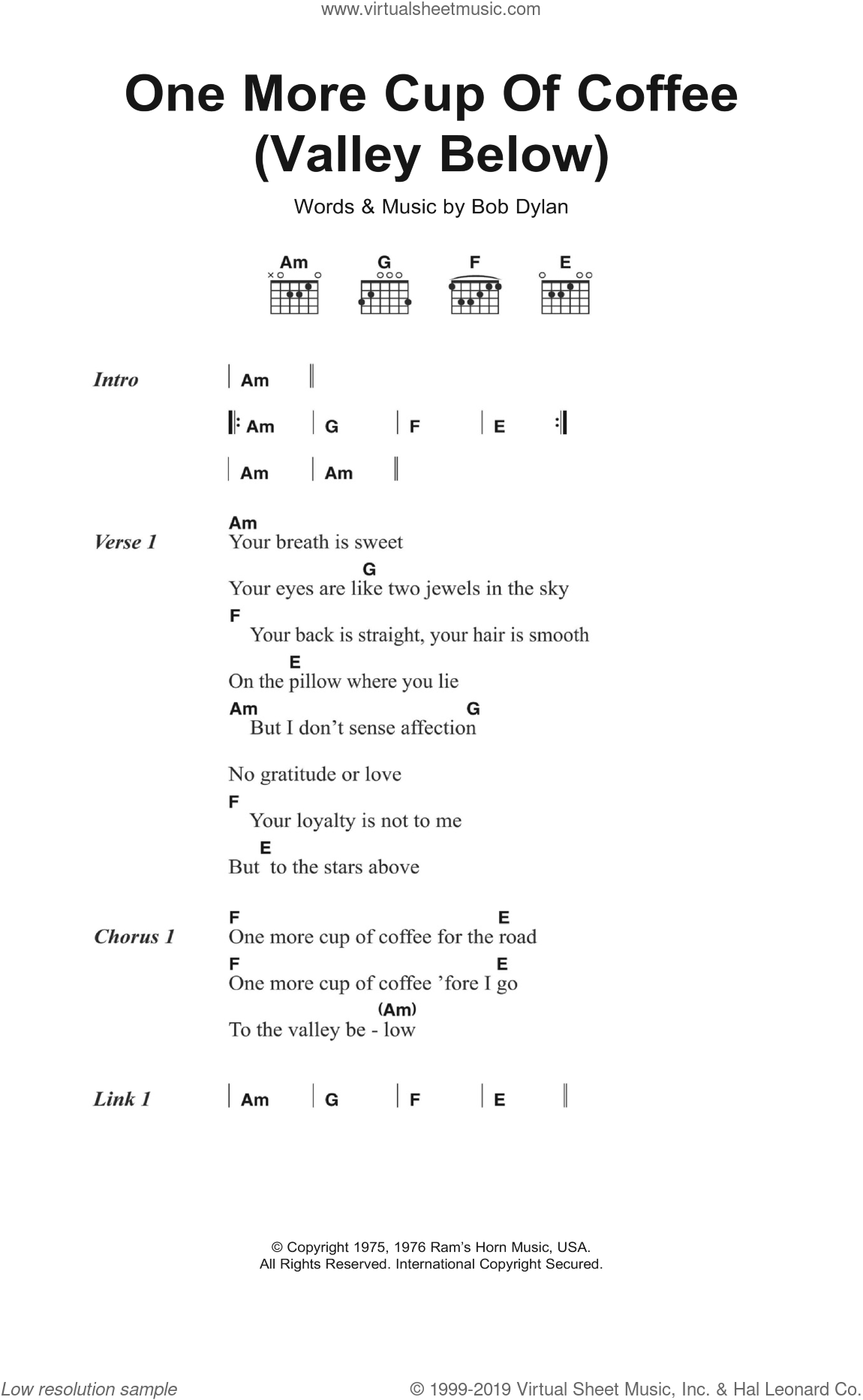 Dylan - One More Cup Of Coffee (Valley Below) sheet music for guitar  (chords)